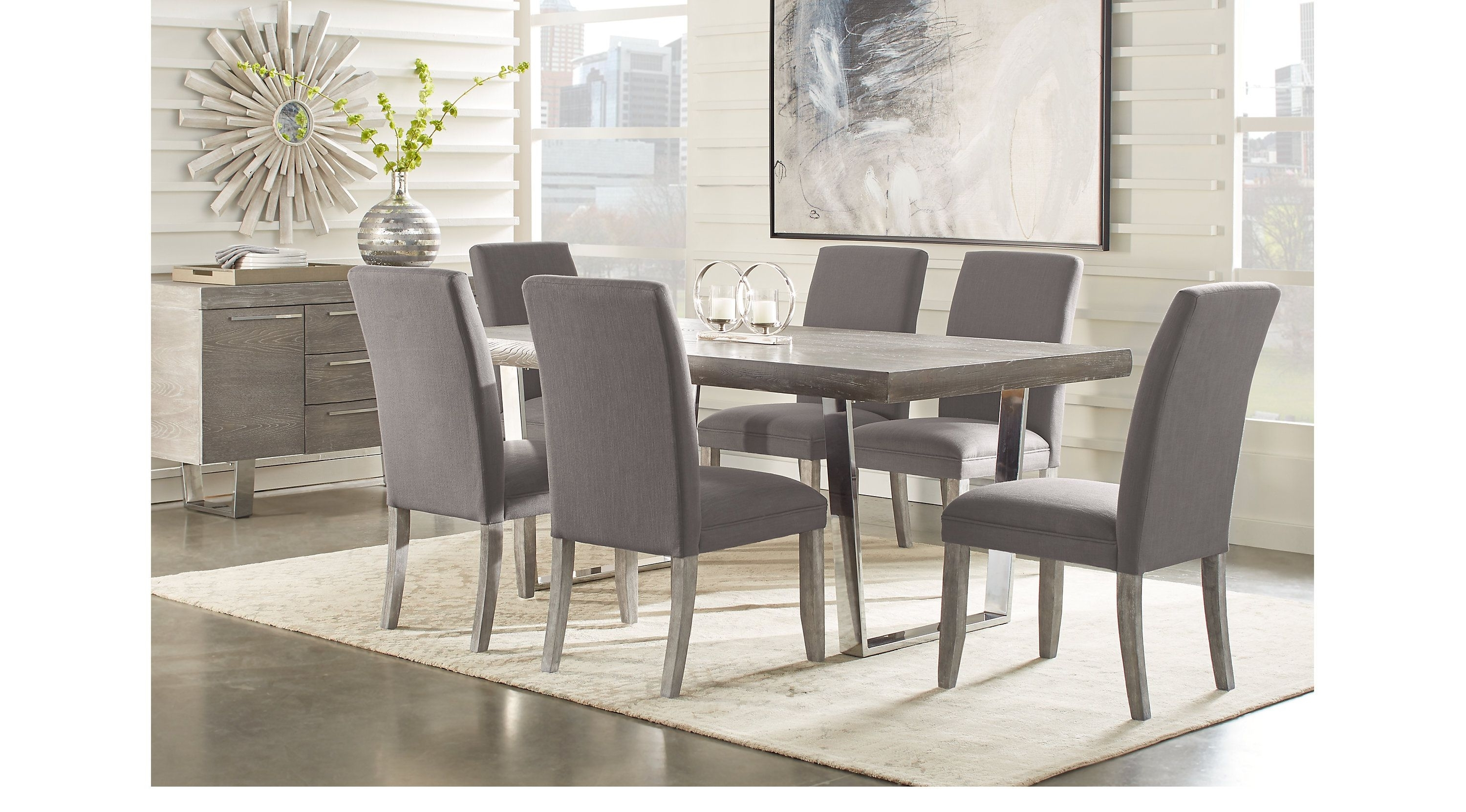Well Known Jaxon Grey 5 Piece Extension Counter Sets With Fabric Stools Throughout Besteneer Rectangular Dining Room Table Dark Gray – Signat (View 22 of 25)