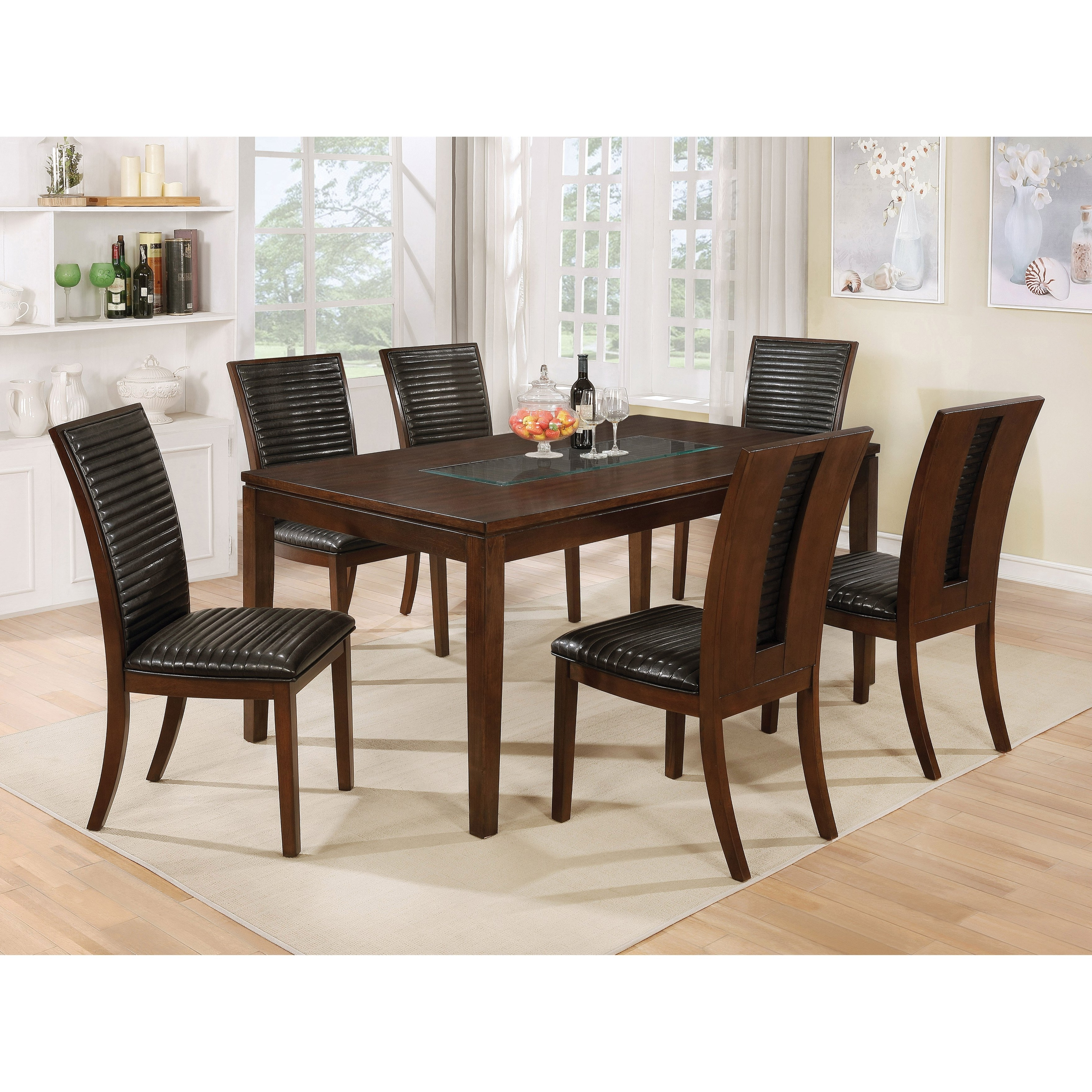 Well Known Leon 7 Piece Dining Sets Within Shop Furniture Of America Gileon Walnut/ Espresso Wood Transitional (View 3 of 25)