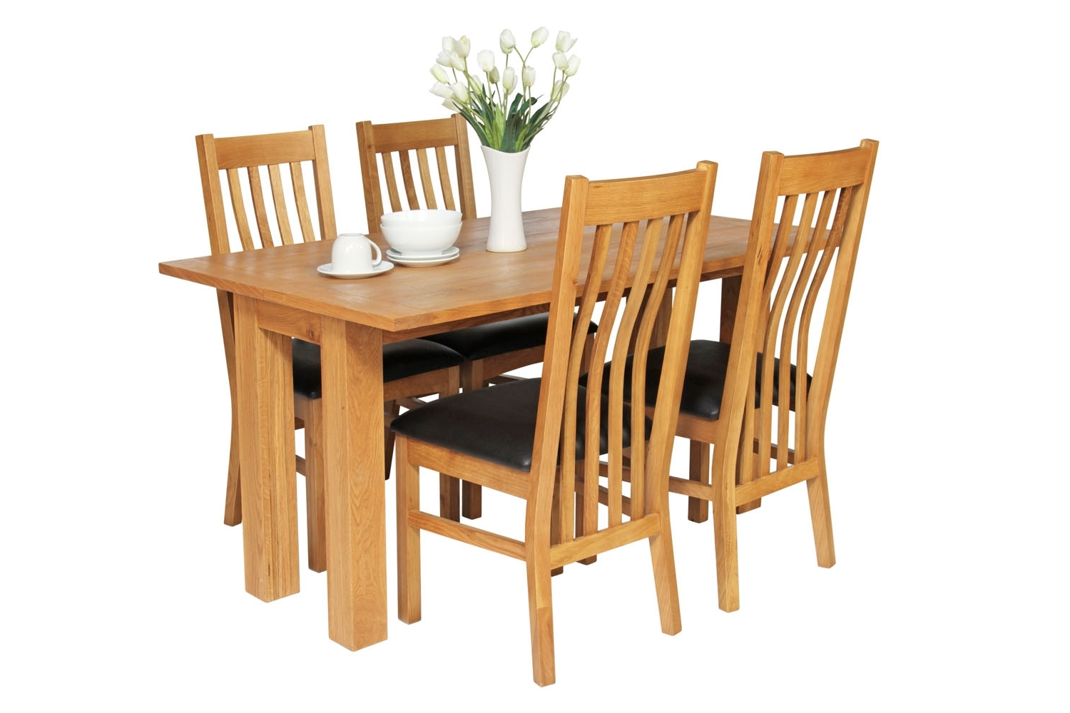Well Known Lichfield 140Cm Flip Top Extending Oak Table & 4 X Chelsea Brown Within Flip Top Oak Dining Tables (View 19 of 25)