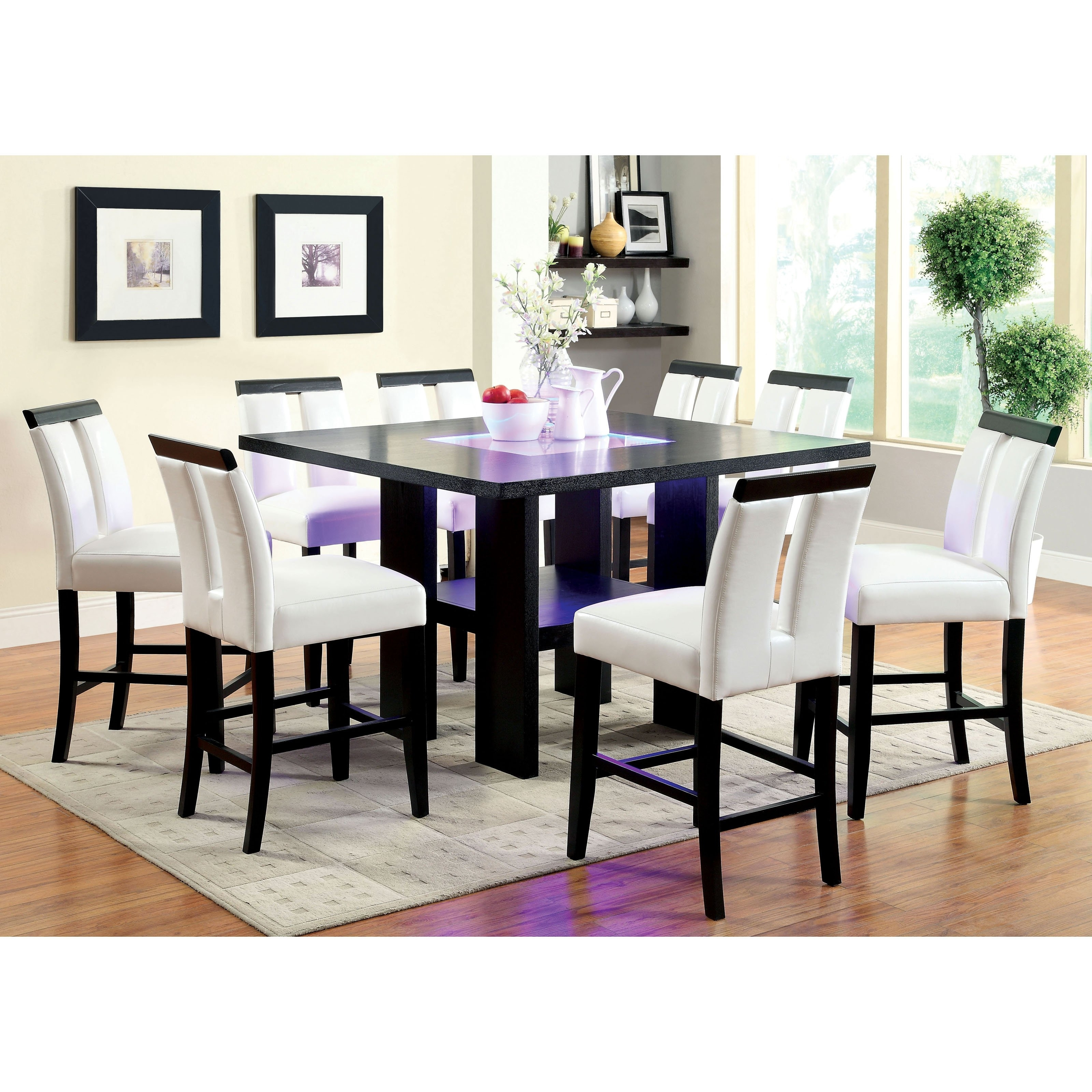 Well Known Logan 7 Piece Dining Sets Throughout Furniture Of America Luminate Contemporary 9 Piece Illuminating (View 24 of 25)