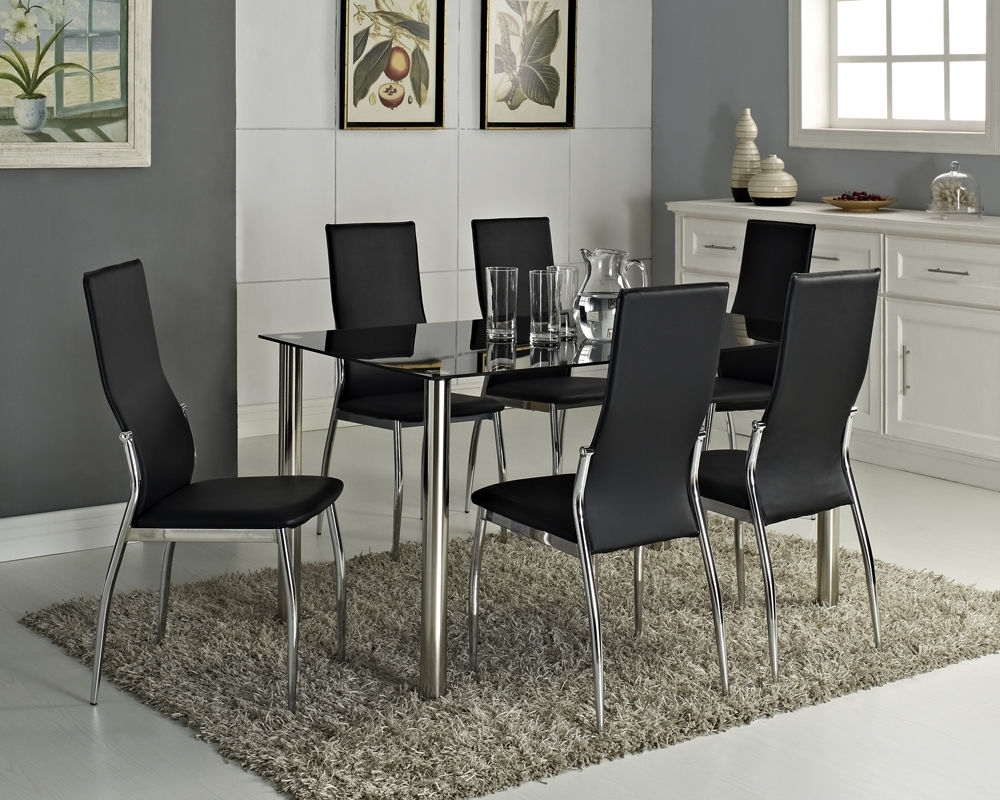 Well Known Luxury Modern Design Top High Gloss Synthetic Leather 6 Seater Glass Black  Stainless Steel Dining Table Set – Buy Classical Glass Dining Intended For Glass 6 Seater Dining Tables (View 25 of 25)