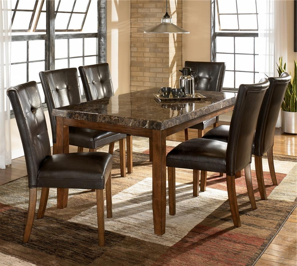 Well Known Marble Dining Tables Sets Intended For Ashley Signature Design Lacey 7 Piece Dining Table & Chair Set (View 24 of 25)