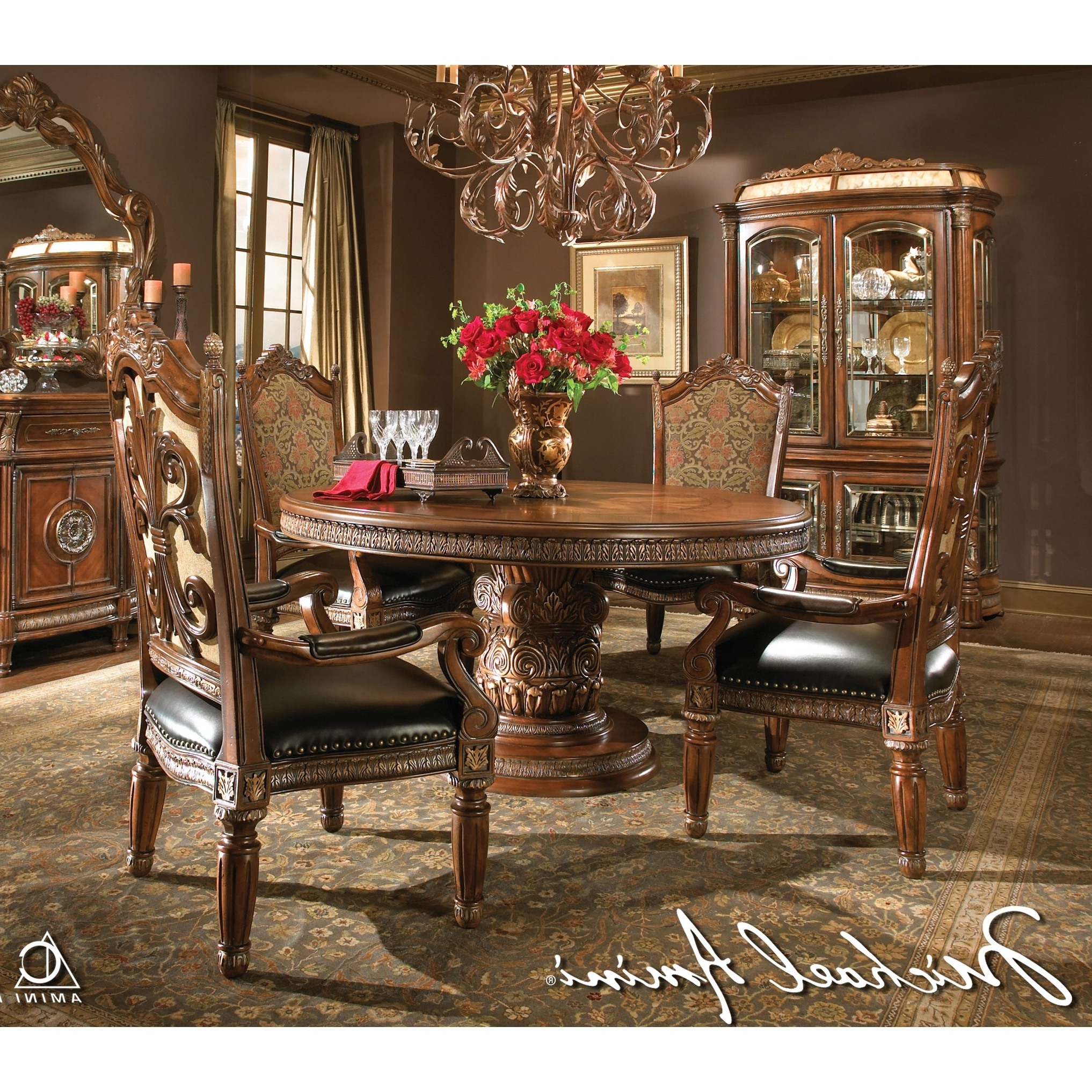 Well Known Michael Amini 5Pc Villa Valencia Round / Oval Dining Table Set & 4 Regarding Valencia 5 Piece Round Dining Sets With Uph Seat Side Chairs (View 6 of 25)