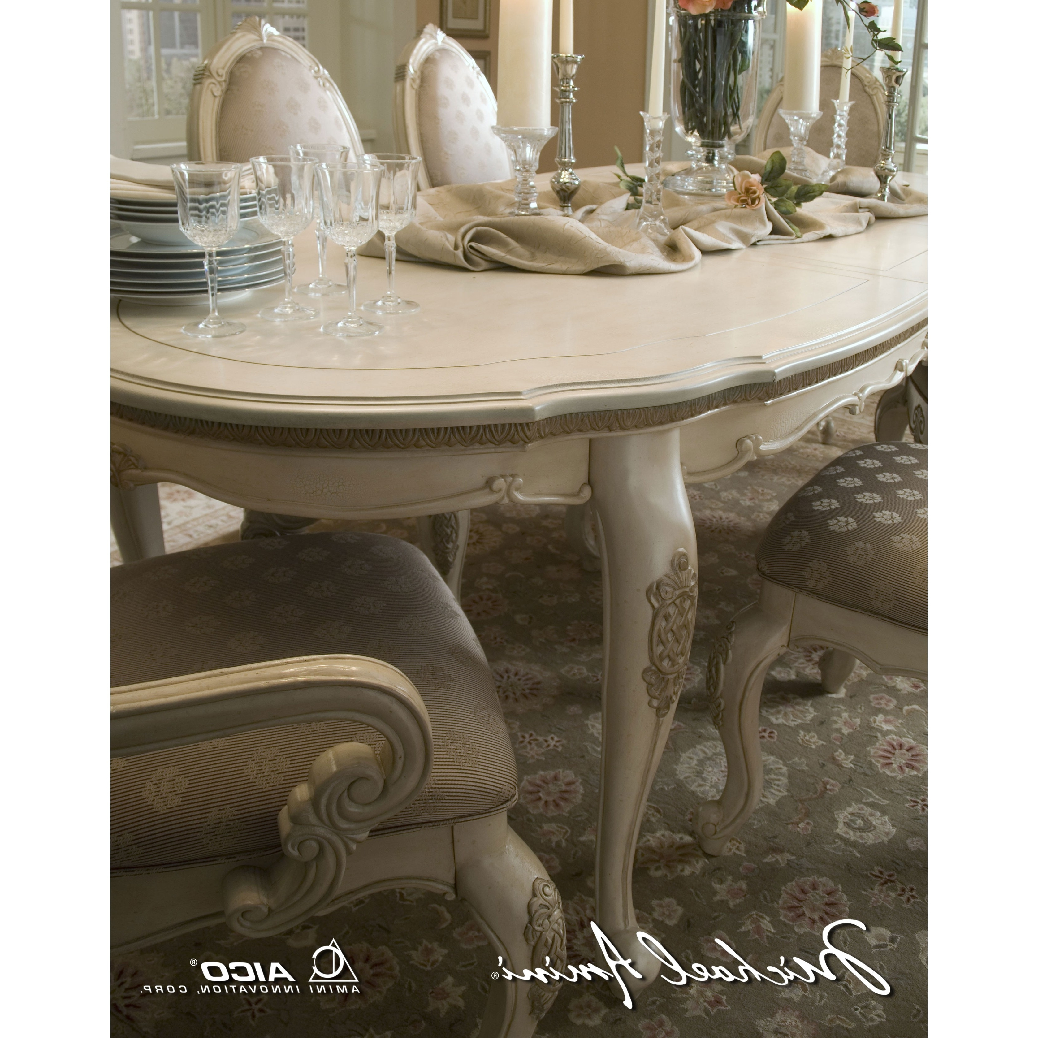 Well Known Michael Amini Lavelle Blanc Finish Oval Dining Tableaico For Within Oval Dining Tables For Sale (View 12 of 25)
