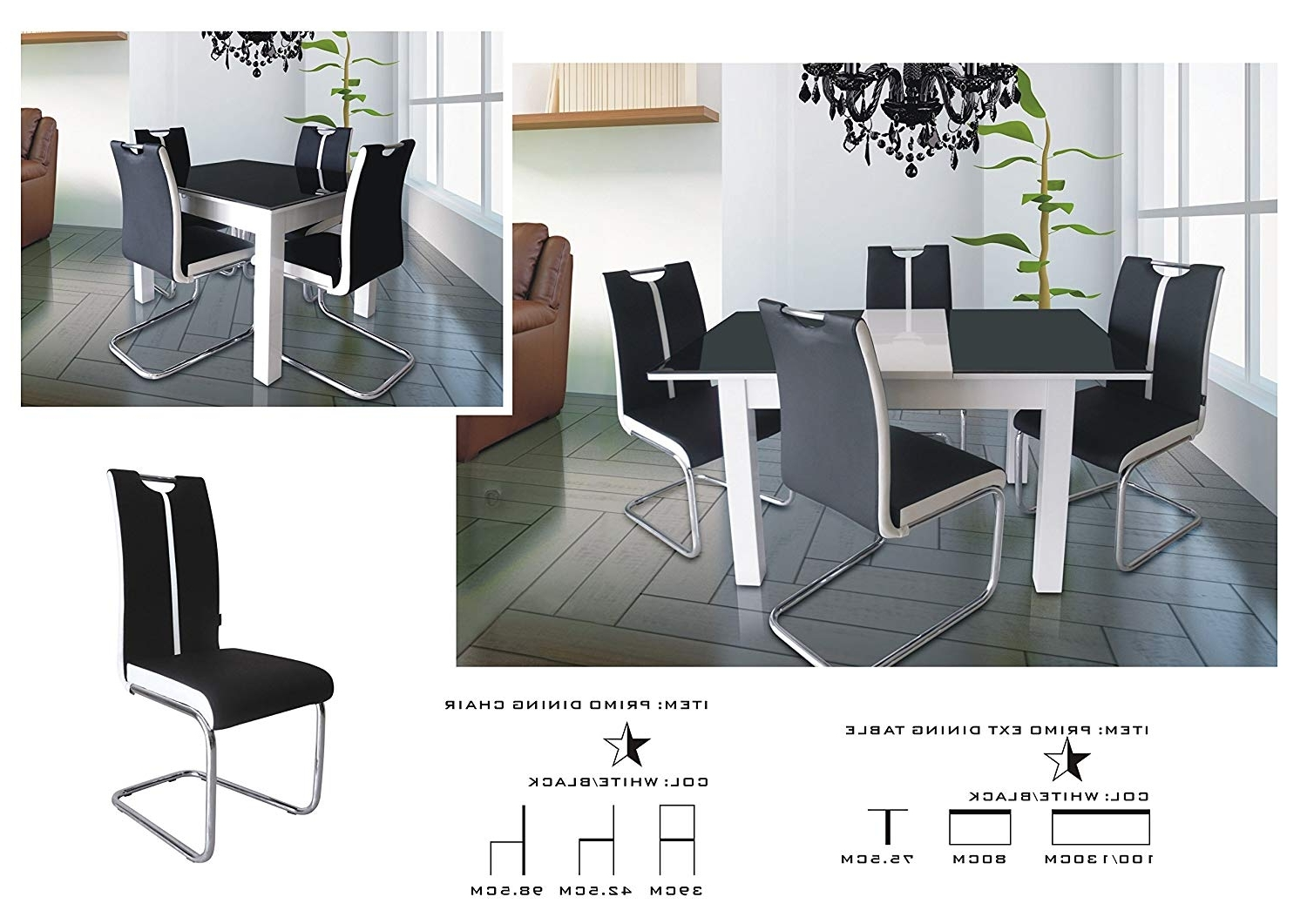Well Known Modernique® Primo Extending Dining Table And 4 Chairs, Dining Table Within Black Extendable Dining Tables And Chairs (View 3 of 25)