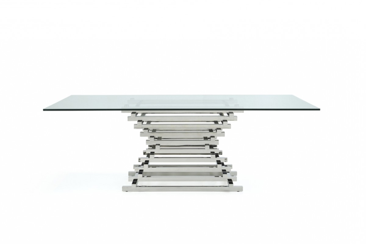 Well Known Modrest Crawford Modern Rectangular Glass Dining Table Throughout Crawford Rectangle Dining Tables (View 24 of 25)