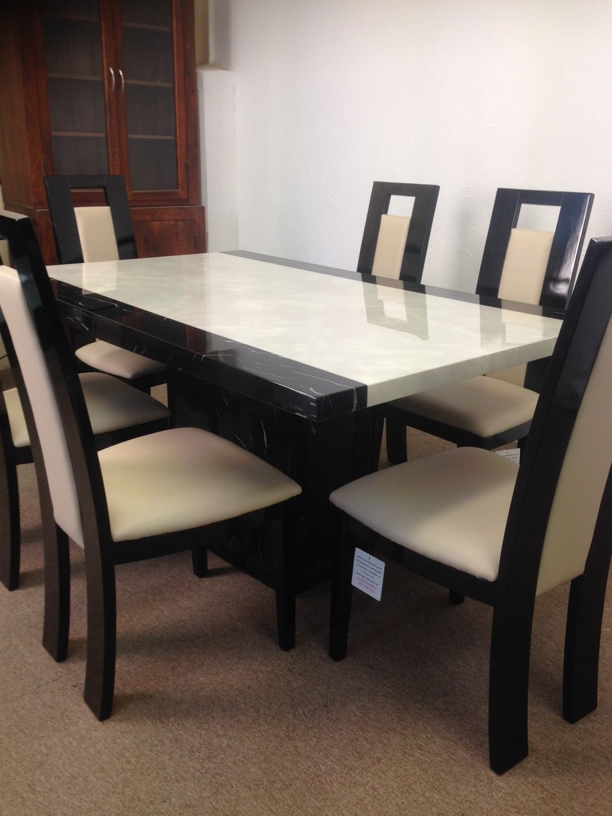 Well Known Monaco Dining Tables Pertaining To Monaco (B&w) Dining Table And 6 Straight Back Chairs – Designer Marble (View 23 of 25)