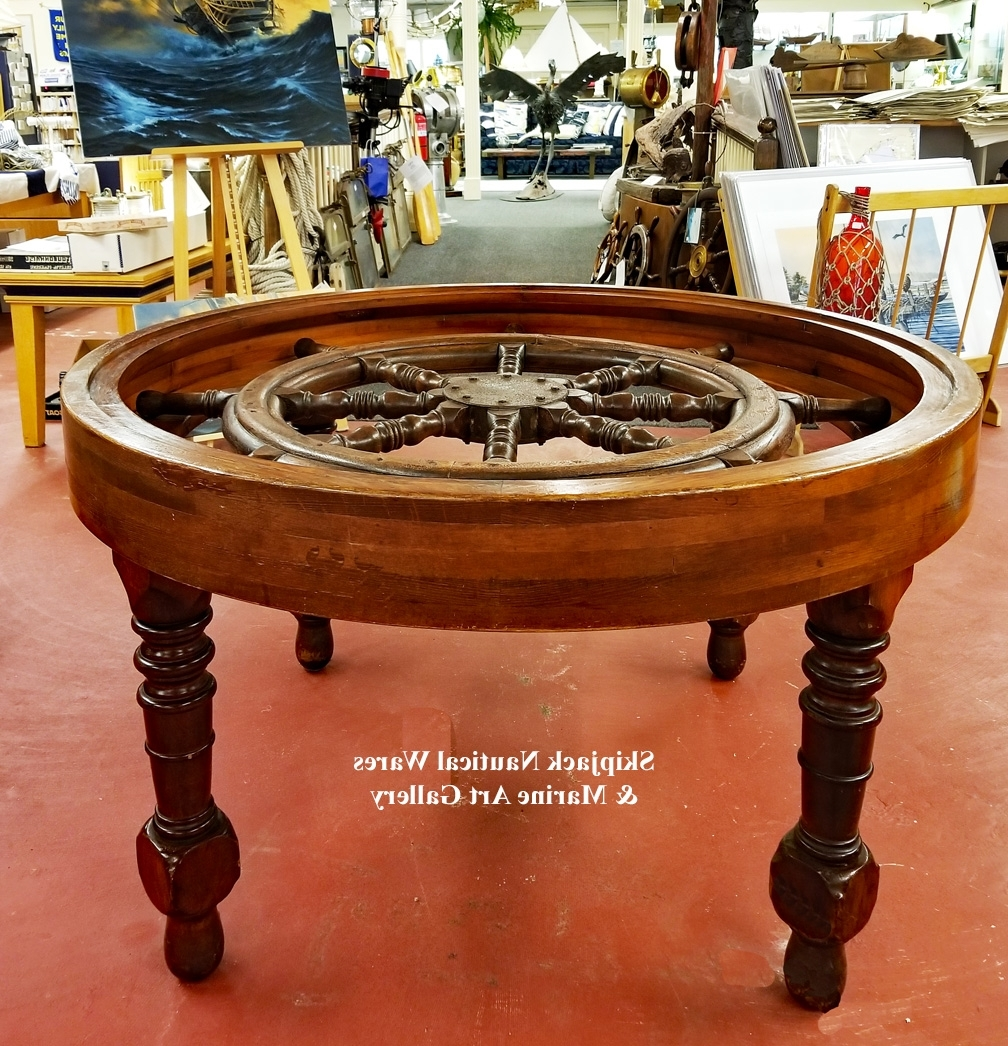 Well Known Nautical Ship's Wheel Dining Gaming Table: Skipjack Nautical Wares Throughout Helms Round Dining Tables (View 25 of 25)