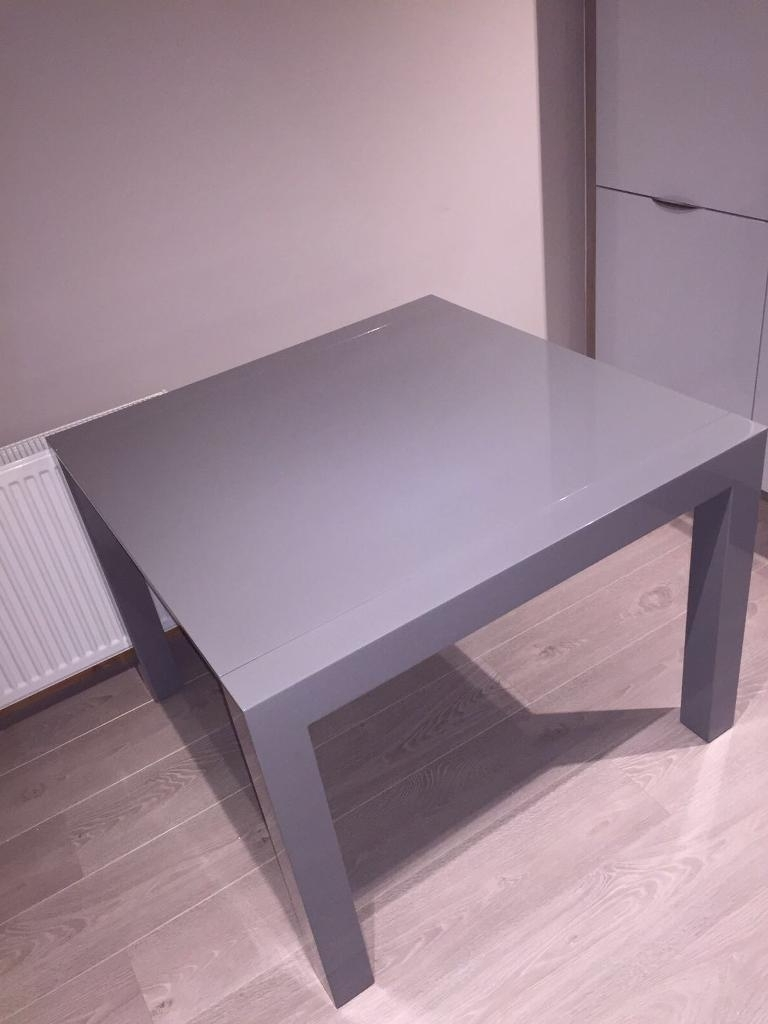 Well Known Never Used – Bramante Square Extending Grey Gloss Dining Table Regarding Grey Gloss Dining Tables (View 24 of 25)