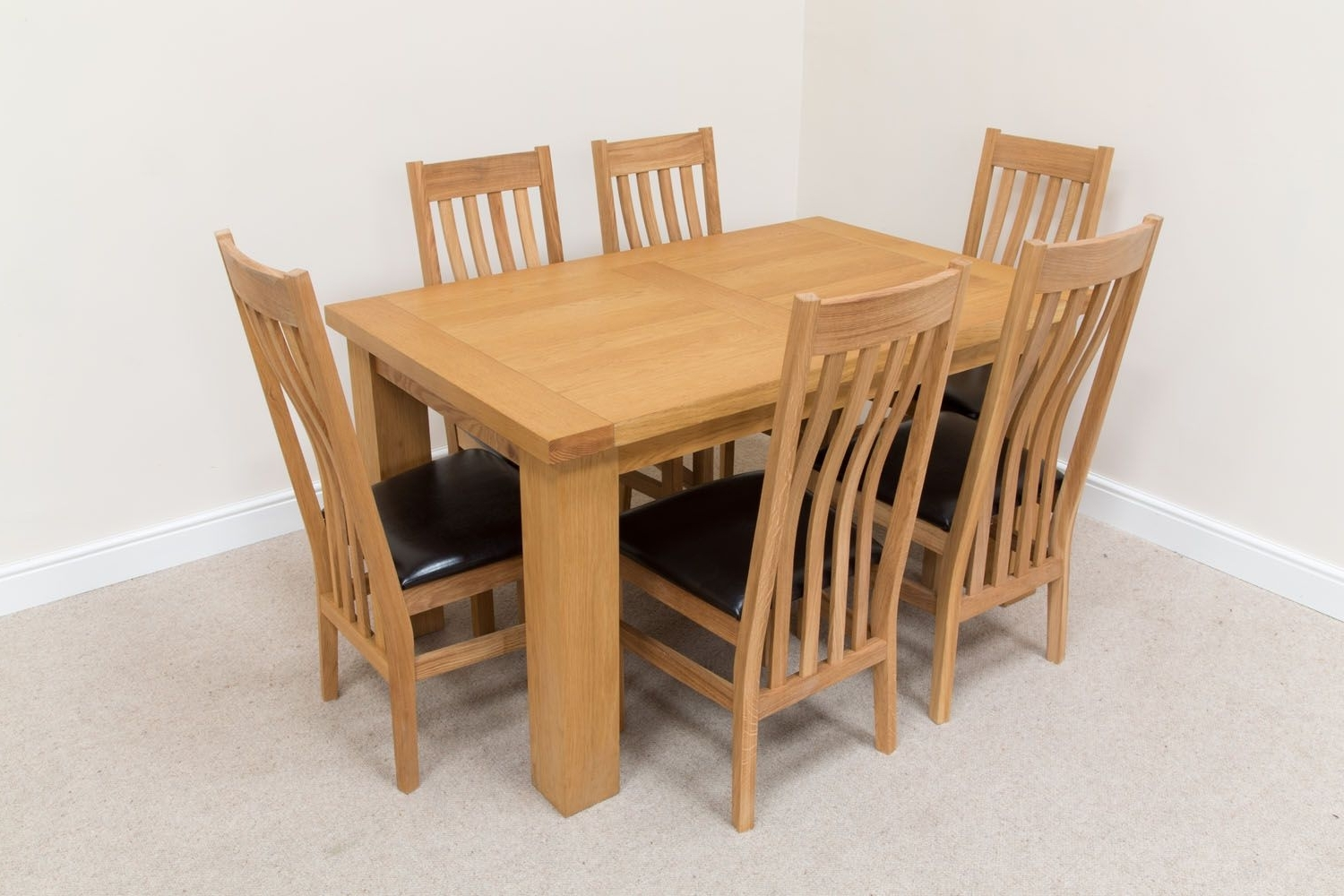 Well Known Oak Dining Tables With 6 Chairs Inside Riga 6 Seater Oak Dining Table Set Brown Leather Chairs (View 15 of 25)
