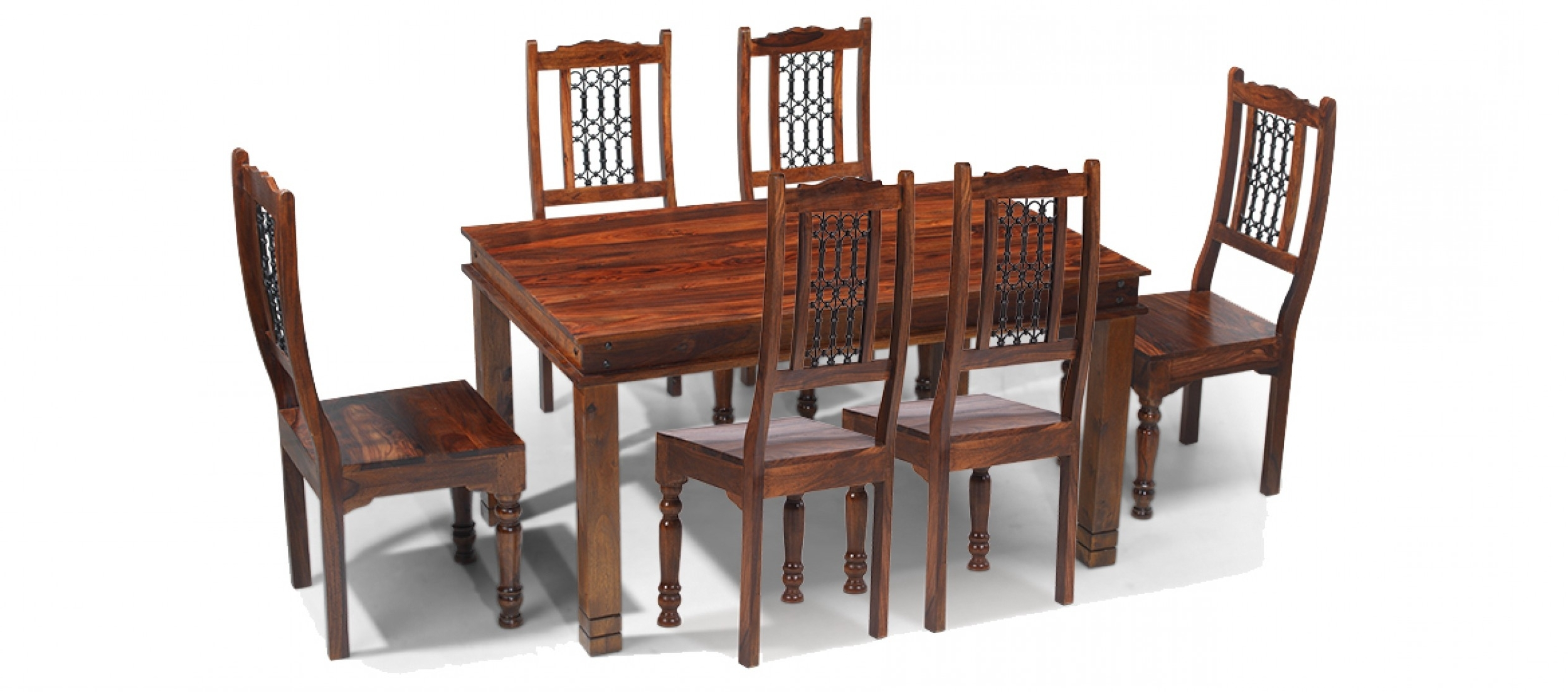 Well Known Oak Dining Tables With 6 Chairs Within Jali Sheesham 160 Cm Chunky Dining Table And 6 Chairs (View 12 of 25)