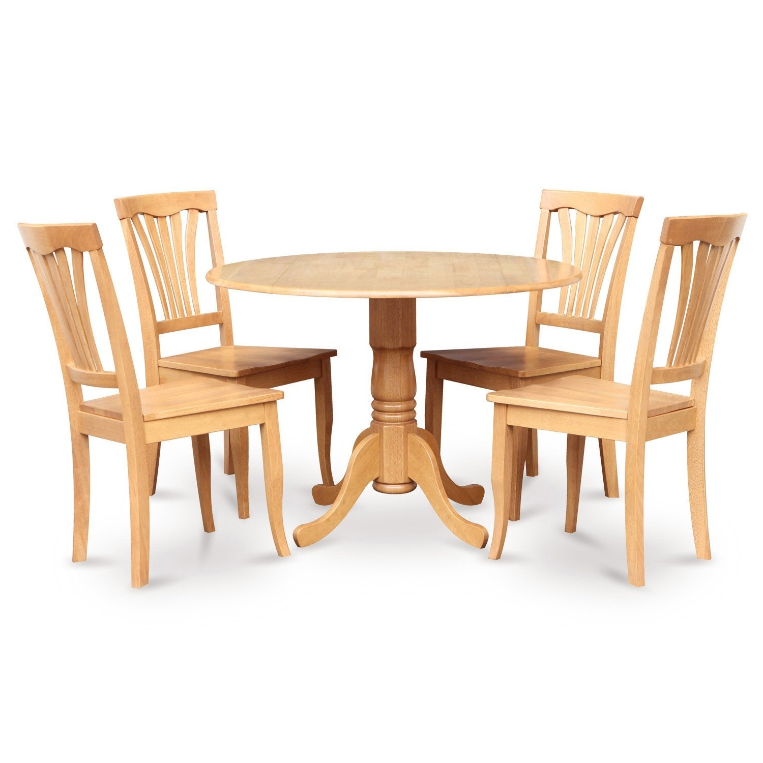 Well Known Oak Round Dining Tables And Chairs With Regard To Oak Round Kitchen Table And 4 Kitchen Chairs 5 Piece Dining Set Wood (View 23 of 25)