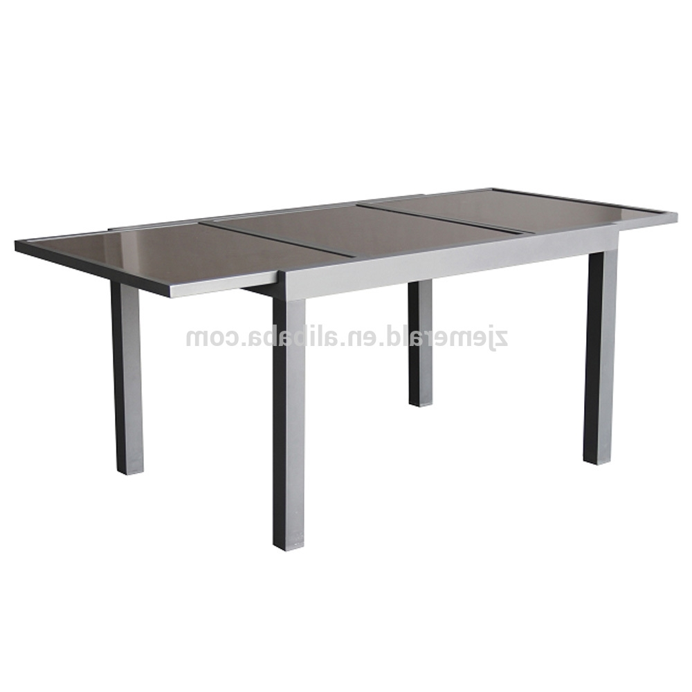 Well Known Outdoor Extendable Dining Tables Within Outdoor Aluminum Patio Extendable Glass Dining Table – Buy (View 25 of 25)