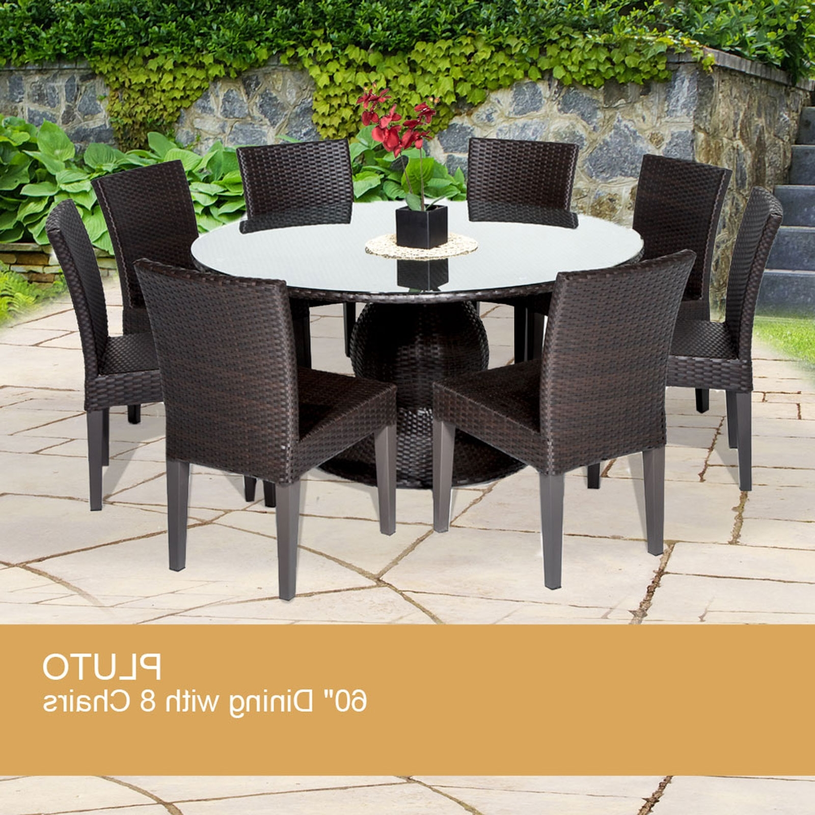 Well Known Pluto 60 Inch Outdoor Patio Dining Table With 8 Chairs With Regard To Dining Tables With 8 Chairs (View 24 of 25)