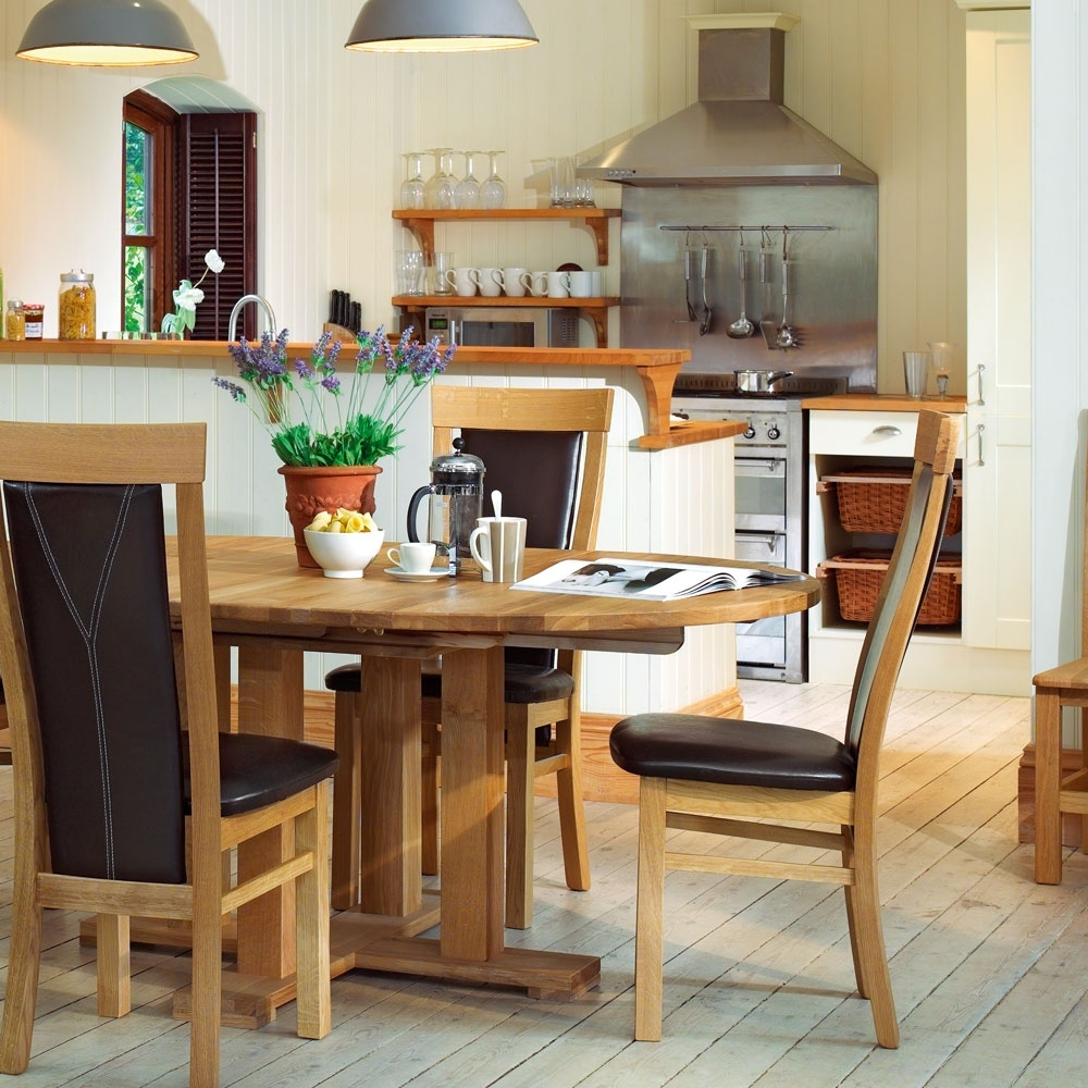 Well Known Quercus Oak Round Extending Dining Table – Con Tempo Furniture In Round Extending Dining Tables And Chairs (View 25 of 25)