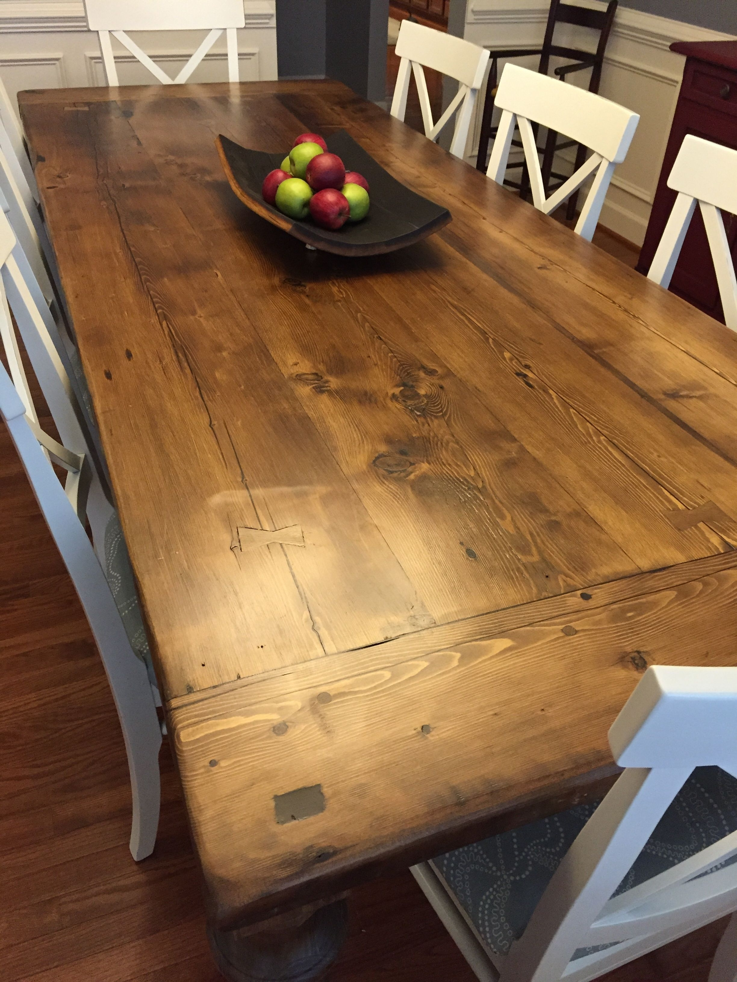 """Well Known Reclaimed Wood Dining Table With A 2"""" Thick Plank Top, Breadboards Intended For Cheap Reclaimed Wood Dining Tables (View 14 of 25)"""