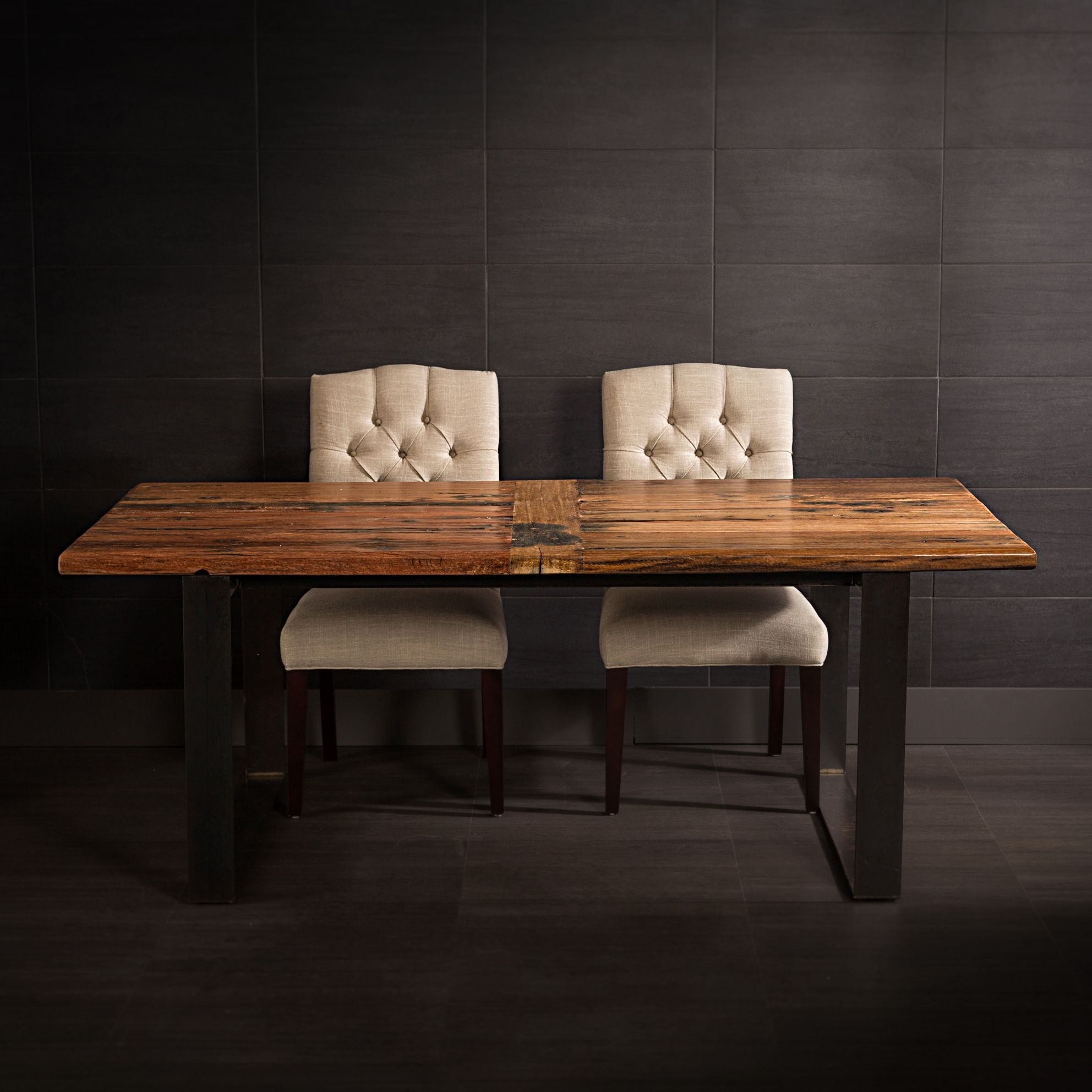 Well Known Recycled Railway Wood Dining Table With Metal Legs (View 22 of 25)
