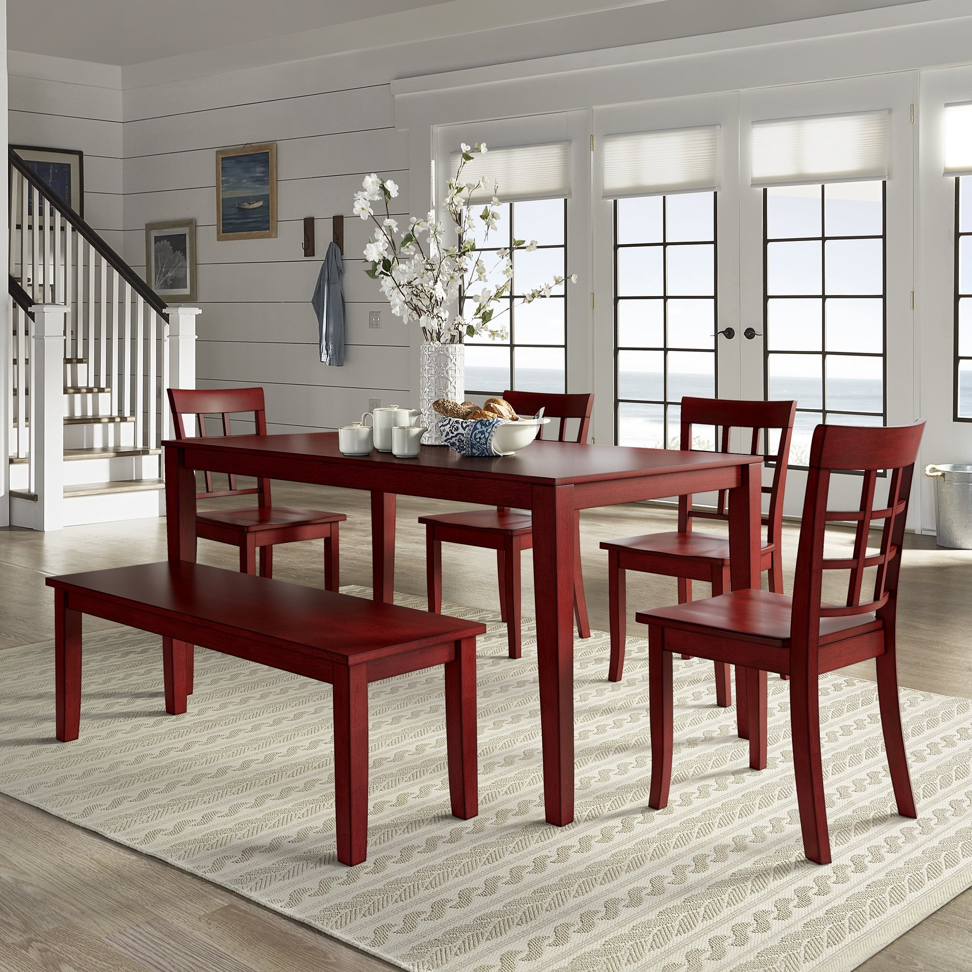 Well Known Red Dining Tables And Chairs Throughout Shop Wilmington Ii 60 Inch Rectangular Antique Berry Red Dining Set (View 23 of 25)