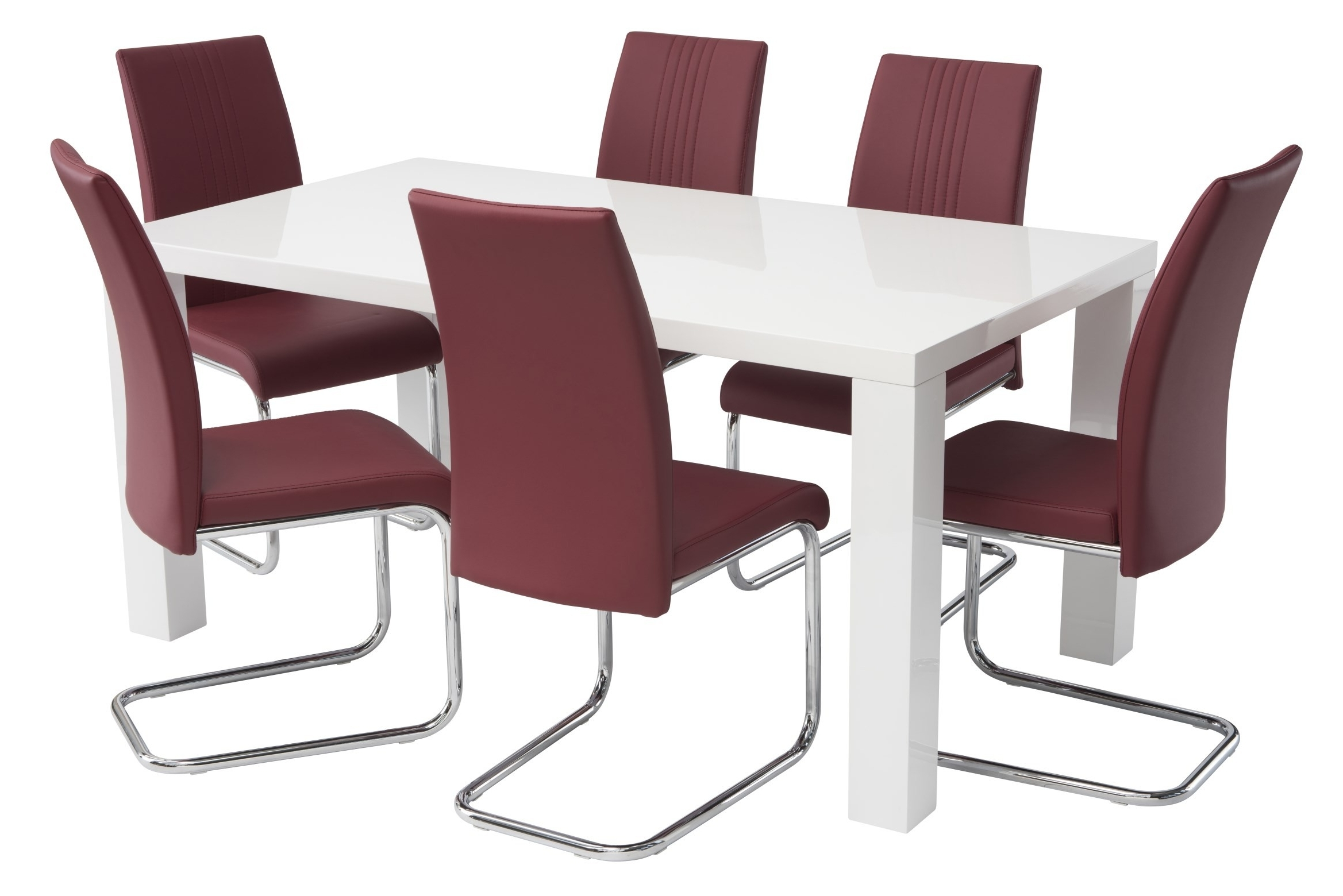 Well Known Red Gloss Dining Tables Intended For Hannah 6 Seater White High Gloss Dining Table With 6 Red Chairs (View 4 of 25)