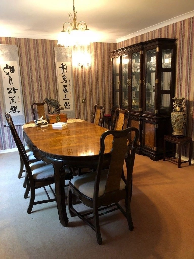 Well Known Rosewood Oriental Fine Dining Table, 8 Chairs And Showcase Cupboard With Regard To Dining Tables 8 Chairs Set (View 24 of 25)