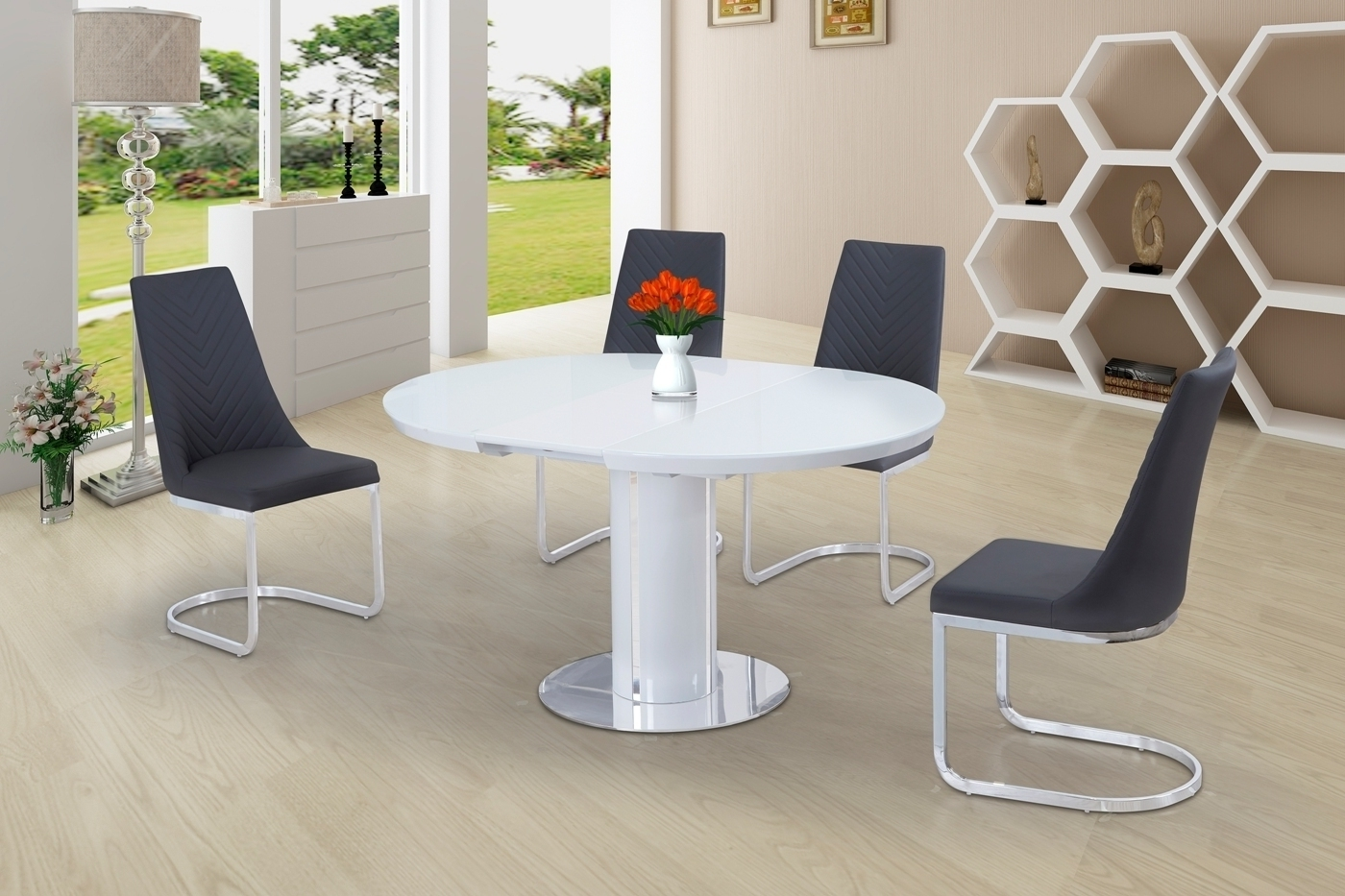 Well Known Round White Glass High Gloss Dining Table And 6 Grey Chairs Inside Extending Gloss Dining Tables (View 16 of 25)