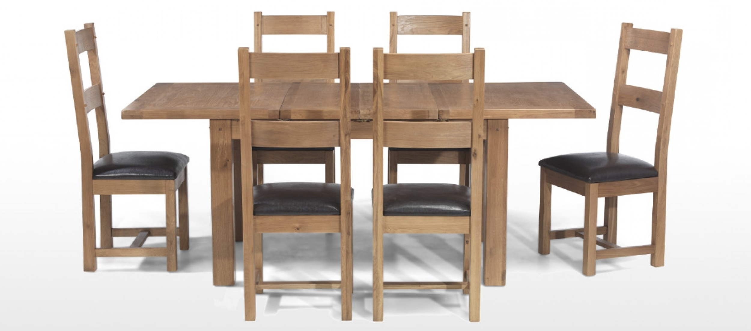 Well Known Rustic Oak 132 198 Cm Extending Dining Table And 6 Chairs (View 8 of 25)