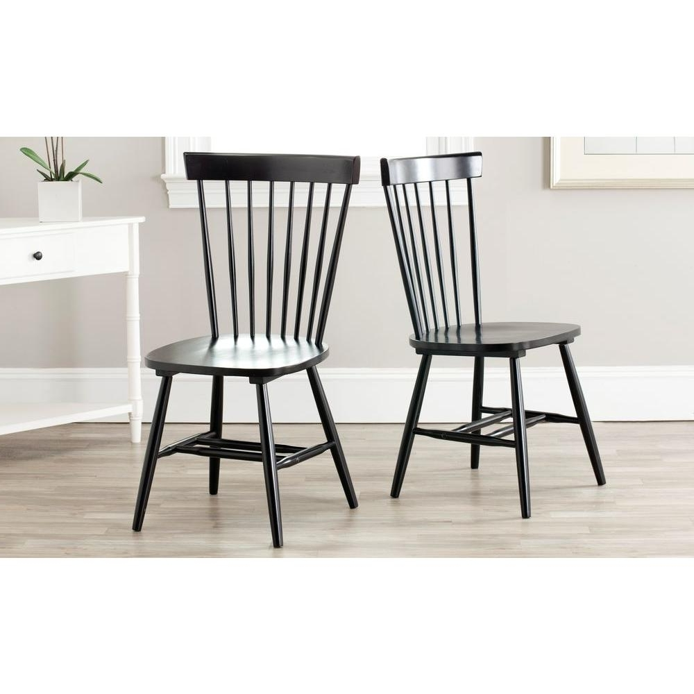Well Known Safavieh Riley Black Wood Dining Chair (Set Of 2) Amh8500B Set2 Regarding Black Dining Chairs (View 7 of 25)
