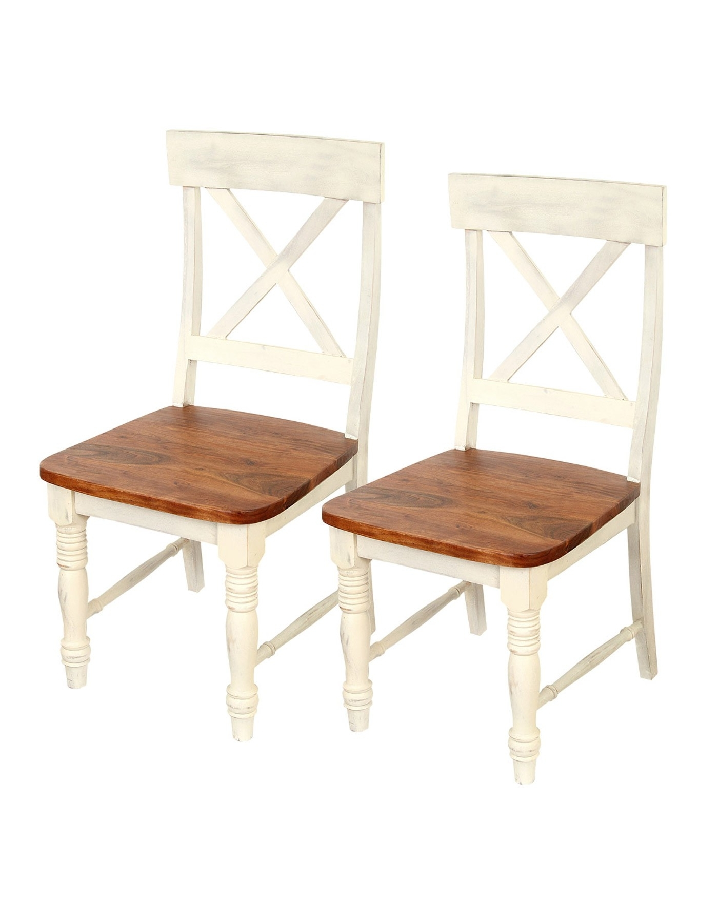 Well Known Shabby Chic Dining Chairs With Chateau Shabby Chic Solid Acacia Wood Dining Chairs Pair – Homescapes (View 23 of 25)