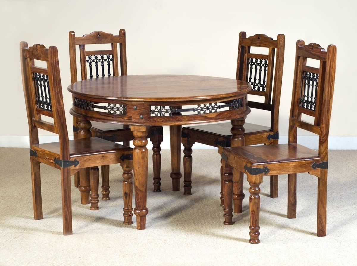 Well Known Sheesham Dining Tables And Chairs Regarding Jali Sheesham Round 4 Seater Dining Set (View 22 of 25)