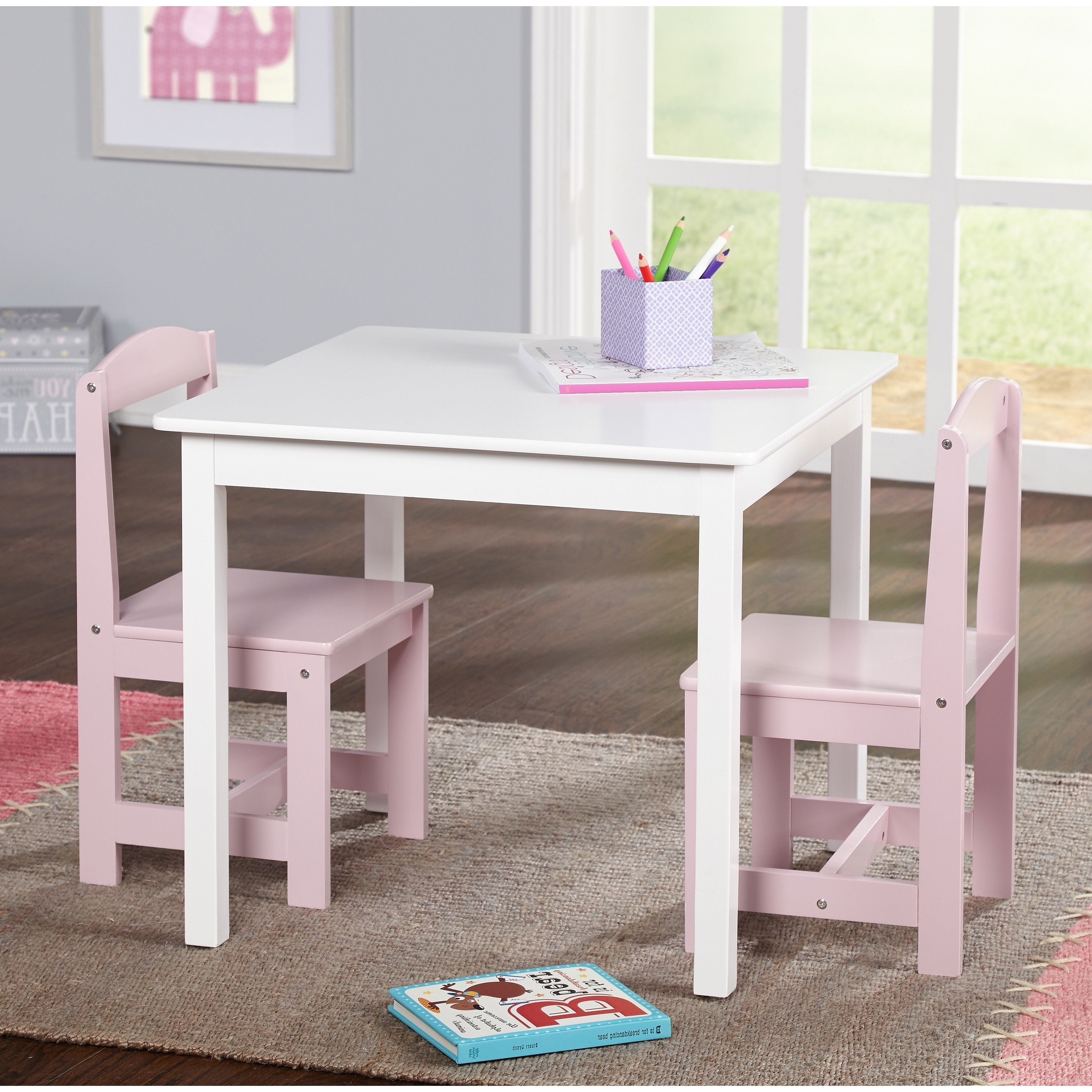 Well Known Shop Simple Living Hayden Kids' Pink/ White 3 Piece Table And Chair Intended For Hayden Dining Tables (View 25 of 25)