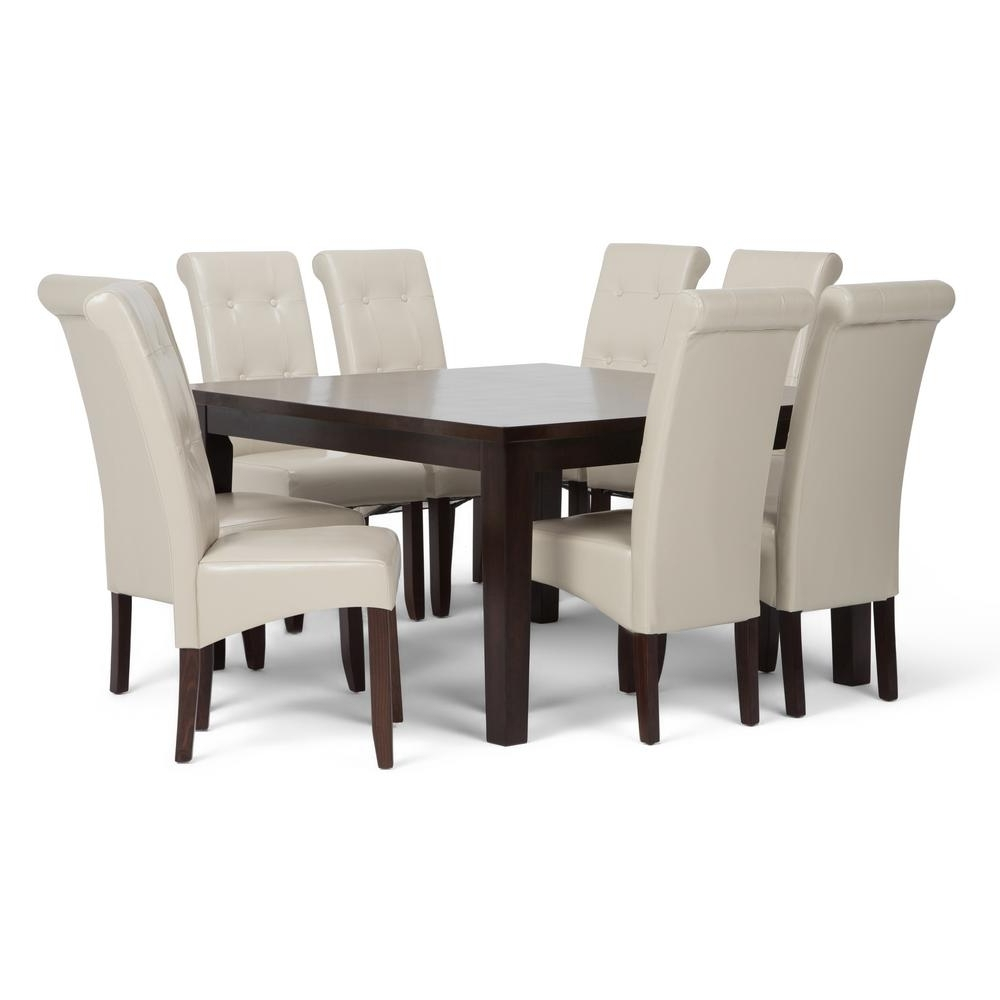 Well Known Simpli Home Cosmopolitan 9 Piece Satin Cream Dining Set Axcds9 Cos Intended For Cream Dining Tables And Chairs (View 17 of 25)