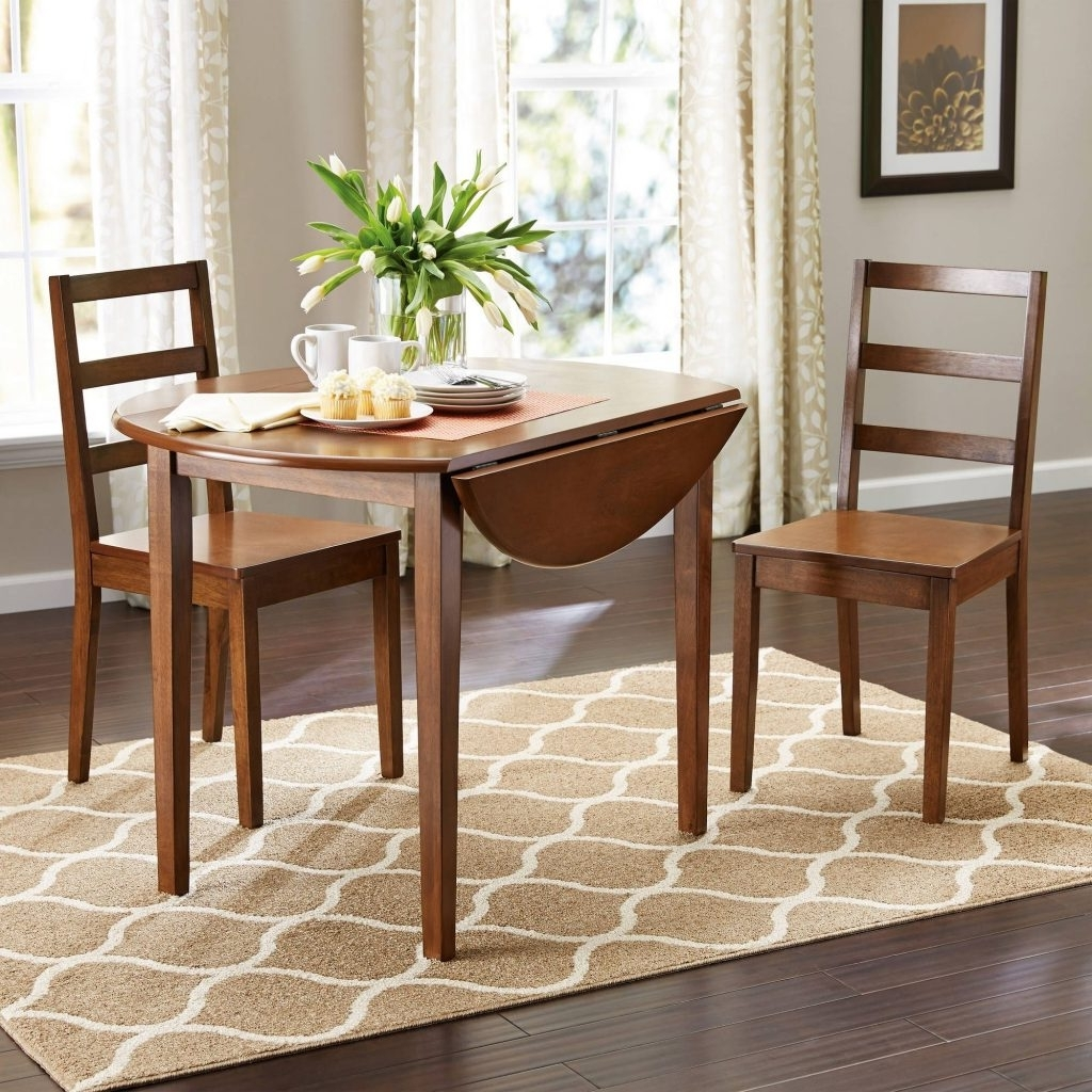 Well Known Small Two Person Dining Tables Within Drop Leaf Round Dining Table And Chairs Trends Two Person Kitchen (View 25 of 25)