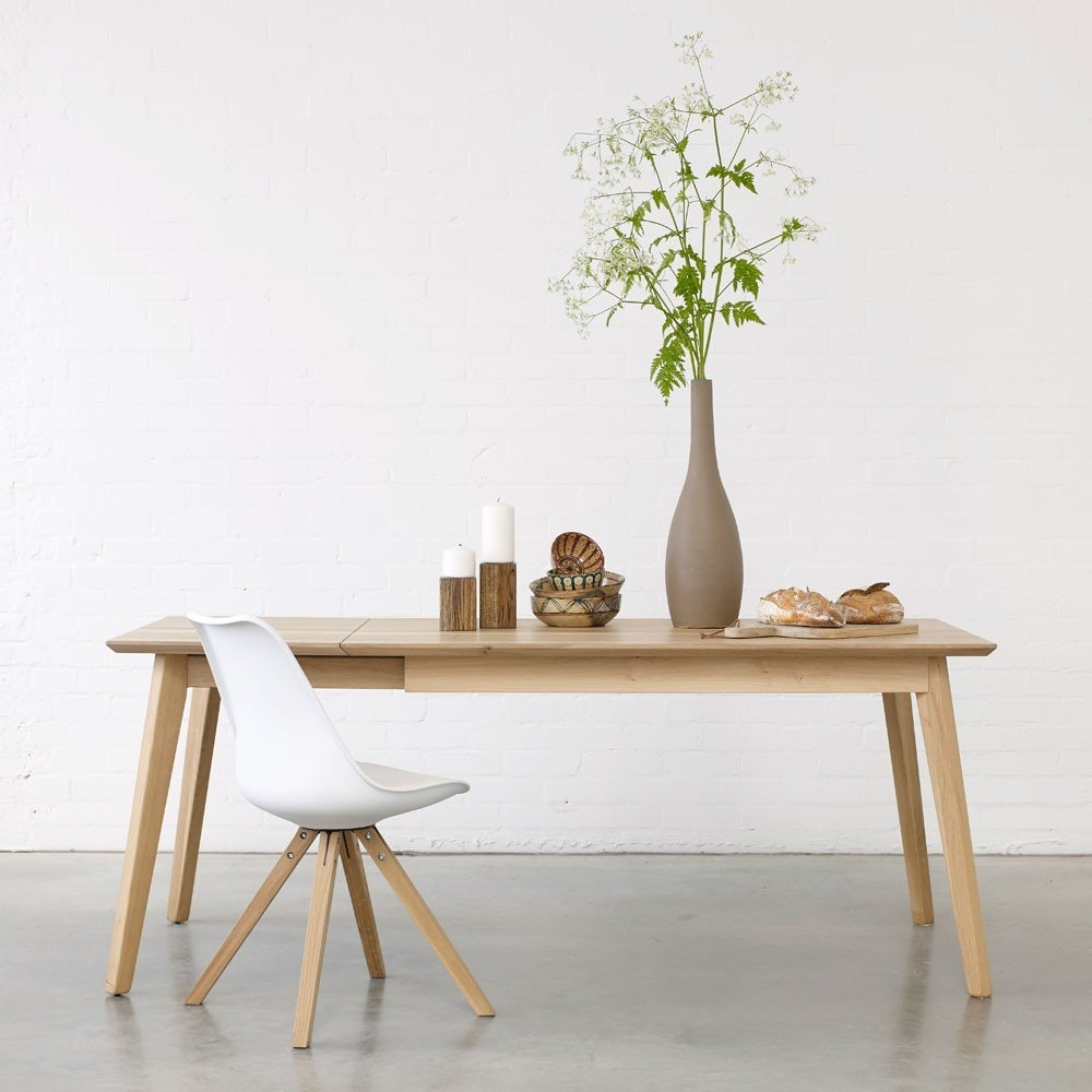 Well Known Solid Oak Dining Tables For Bianco Ii Solid Wood Extendable Dining Table (View 17 of 25)