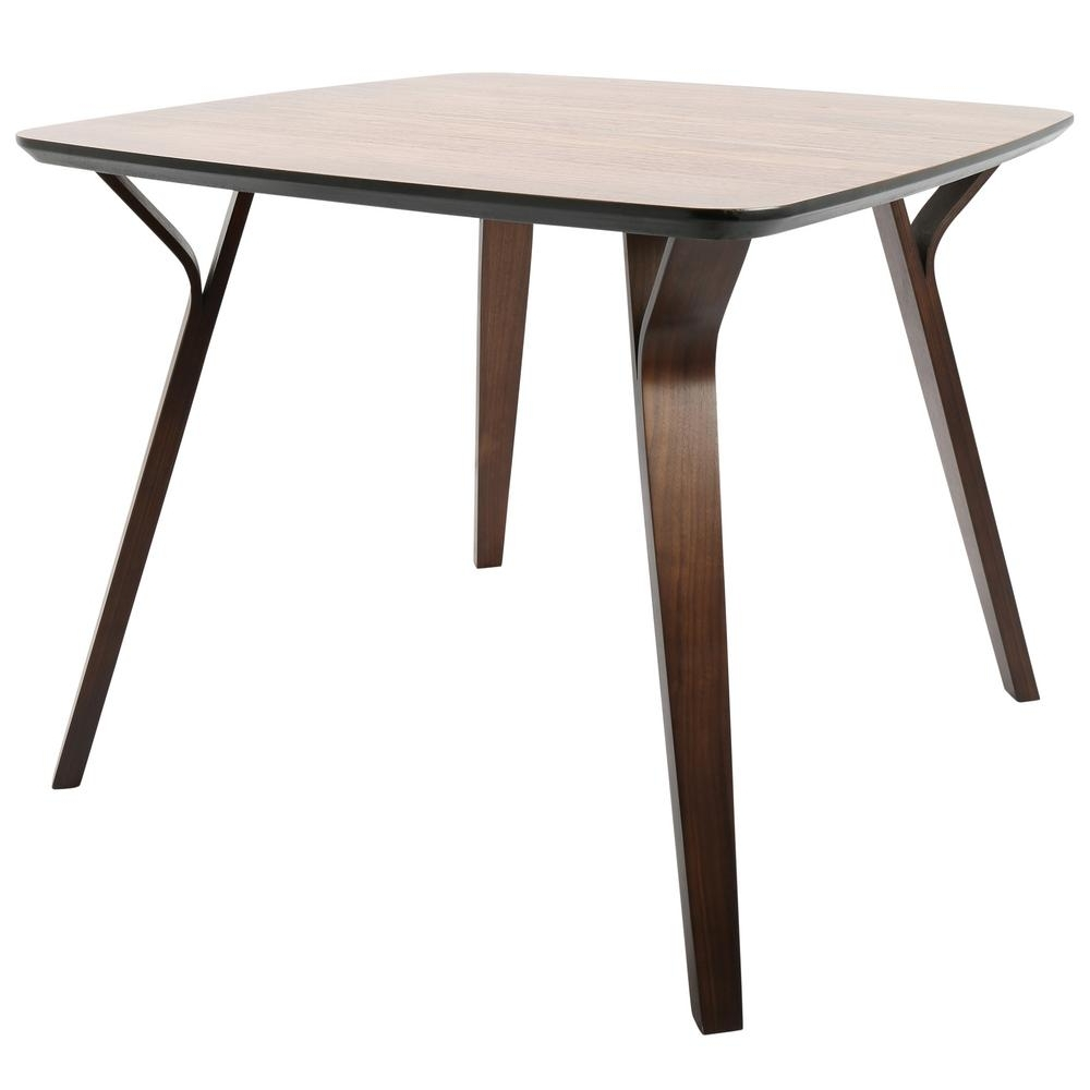 Well Known Square Dining Tables For Lumisource Folia Mid Century Walnut Modern Square Dining Table Dt (View 18 of 25)