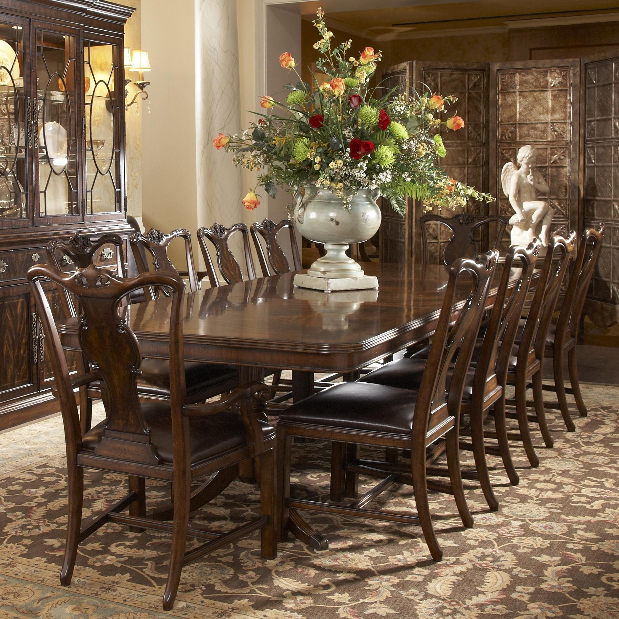 Well Known Traditional Rectangular Double Pedestal Dining Tablefine With Magnolia Home Double Pedestal Dining Tables (View 22 of 25)