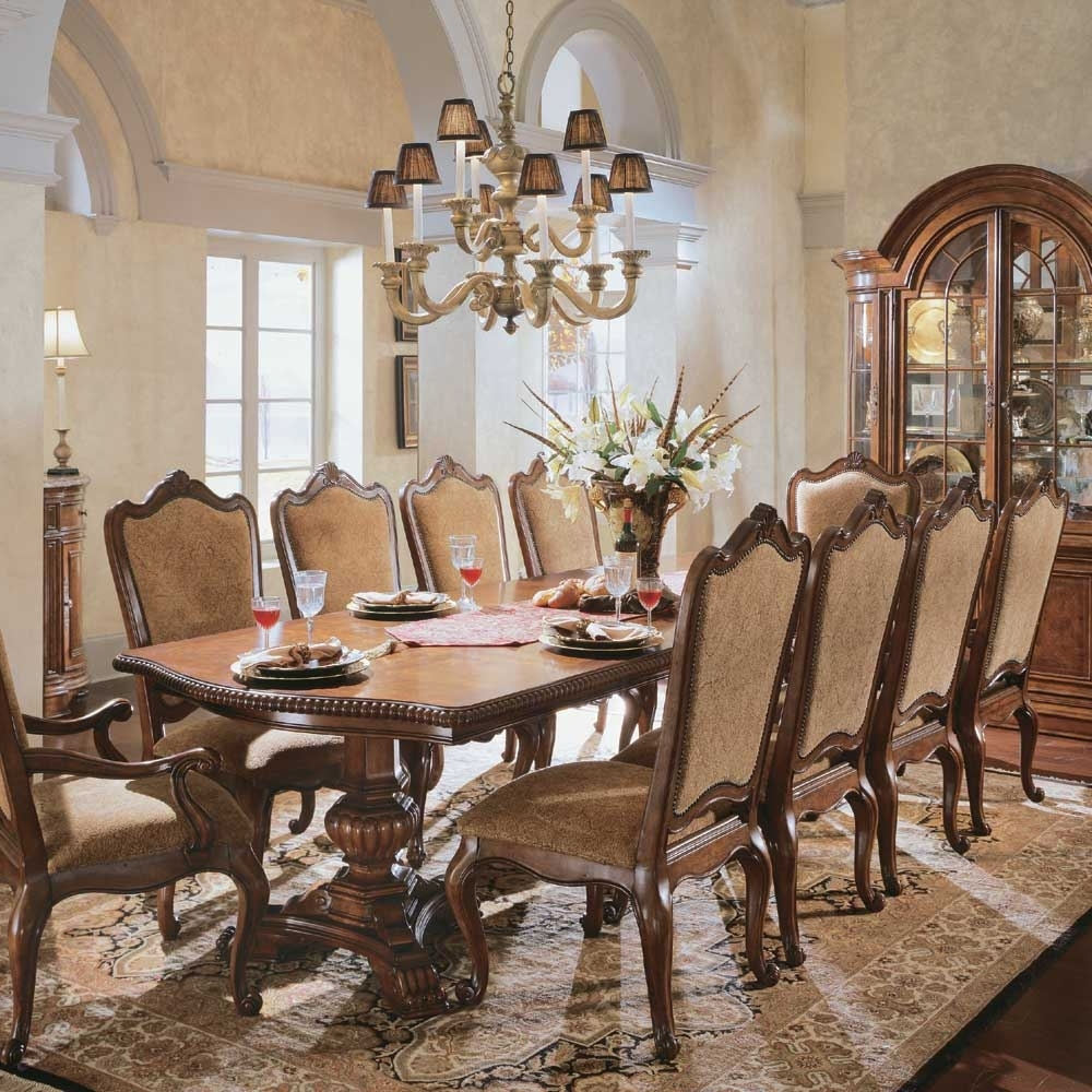 Well Known Universal Dining Tables For Universal Furniture Villa Cortina Double Pedestal Rectangular Dining (View 24 of 25)