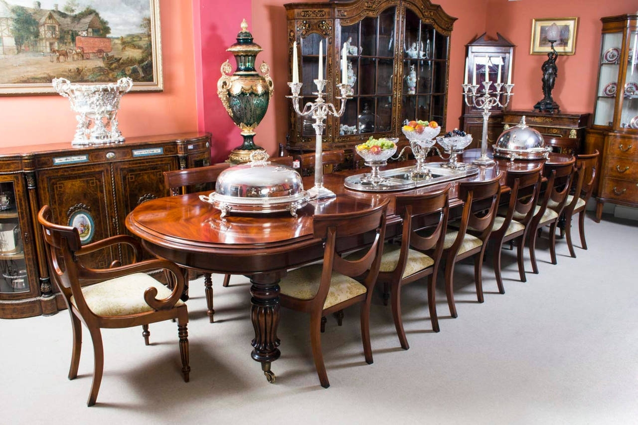 Well Known Vintage Victorian Mahogany Dining Table With 14 Chairs At 1Stdibs With Regard To Mahogany Dining Table Sets (View 12 of 25)
