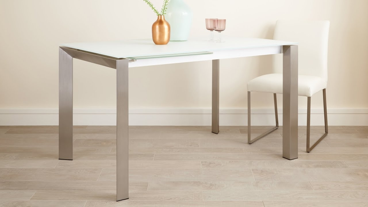 Well Known White Frosted Glass Extending Dining Table With Brushed Metal Legs Regarding Extending Dining Tables (View 25 of 25)