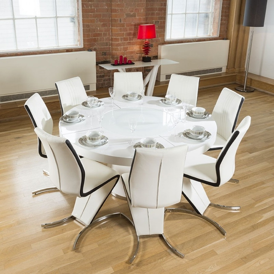 Well Known White Gloss Dining Furniture Regarding Round White Gloss Dining Table Lazy Susan,8 White & Black Z Chairs (View 7 of 25)