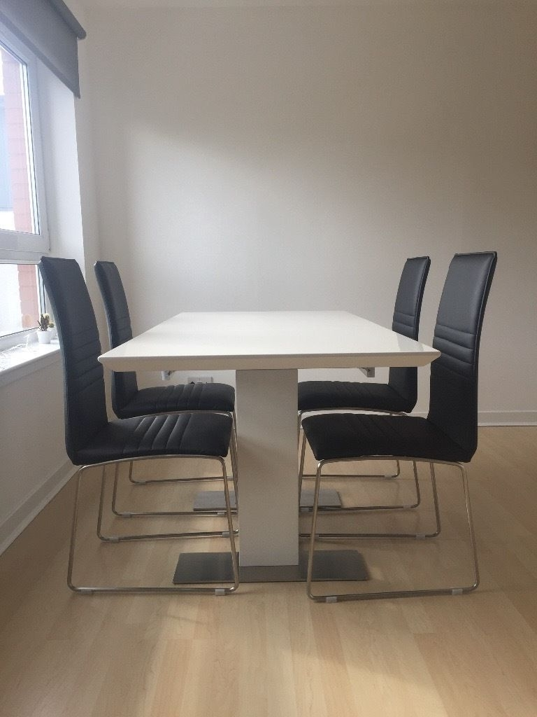 Well Known White Gloss Dining Tables Sets For Harvey's Nova White Gloss Dining Table Set With 4 Chairs (View 5 of 25)