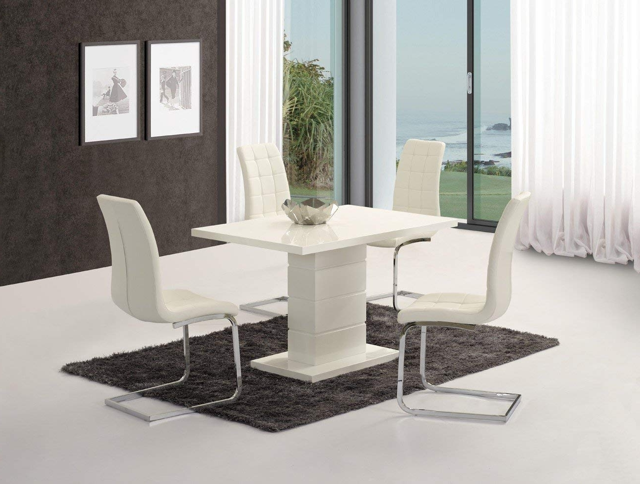 Well Known White High Gloss Dining Tables And 4 Chairs Inside Ice White High Gloss Dining Table + 4 X Enzo Chairs – Top Grade High (View 16 of 25)