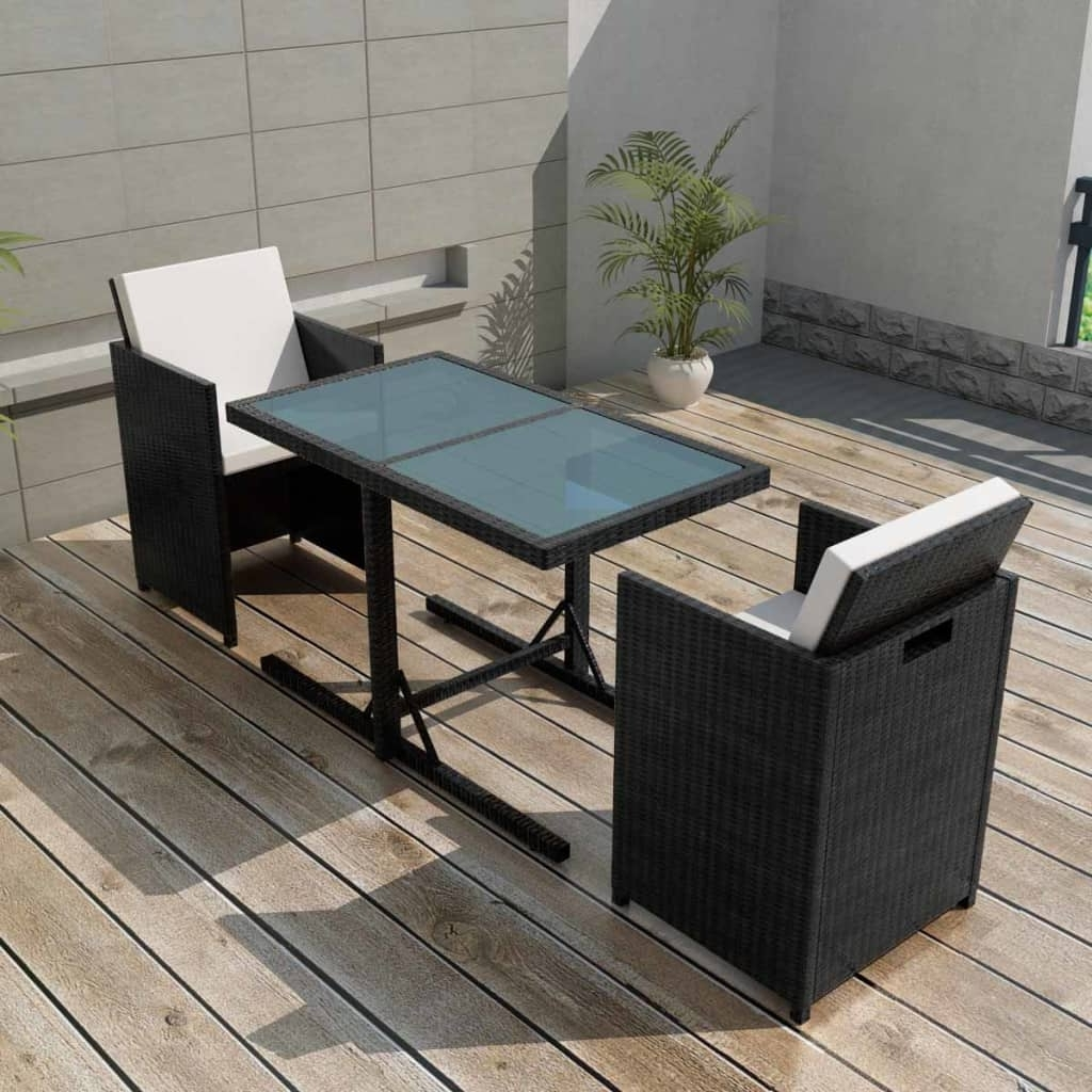 Well Known Wicker And Glass Dining Tables Throughout Vidaxl Garden Dining Set 7 Piece Wicker Poly Rattan Chairs Glass (View 15 of 25)