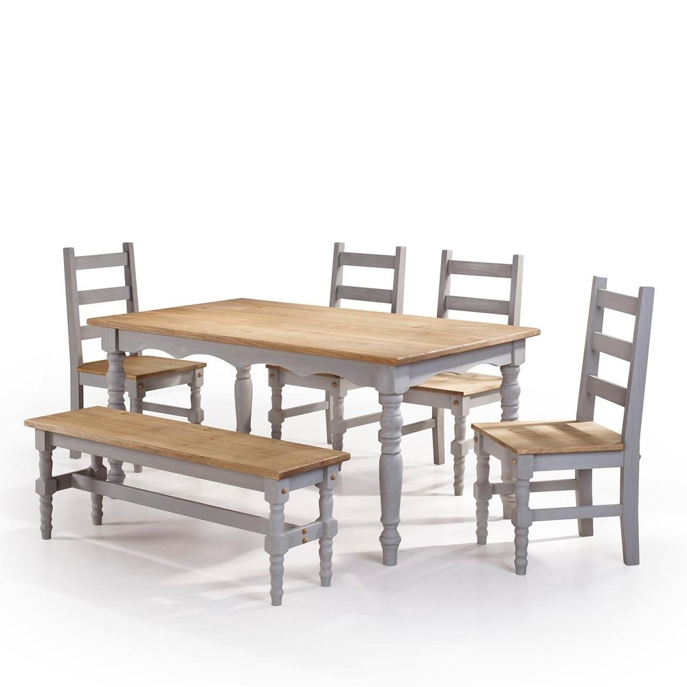 Well Known Wood Dining Tables And 6 Chairs Regarding Manhattan Comfort Jay 6 Piece Gray Wash Solid Wood Dining Set With (View 19 of 25)