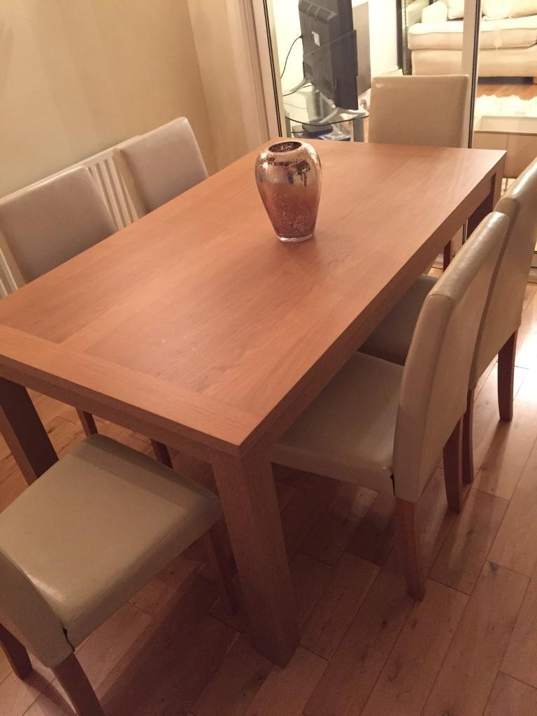 Well Known Wooden Dining Table With Cream Leather Seats (View 25 of 25)