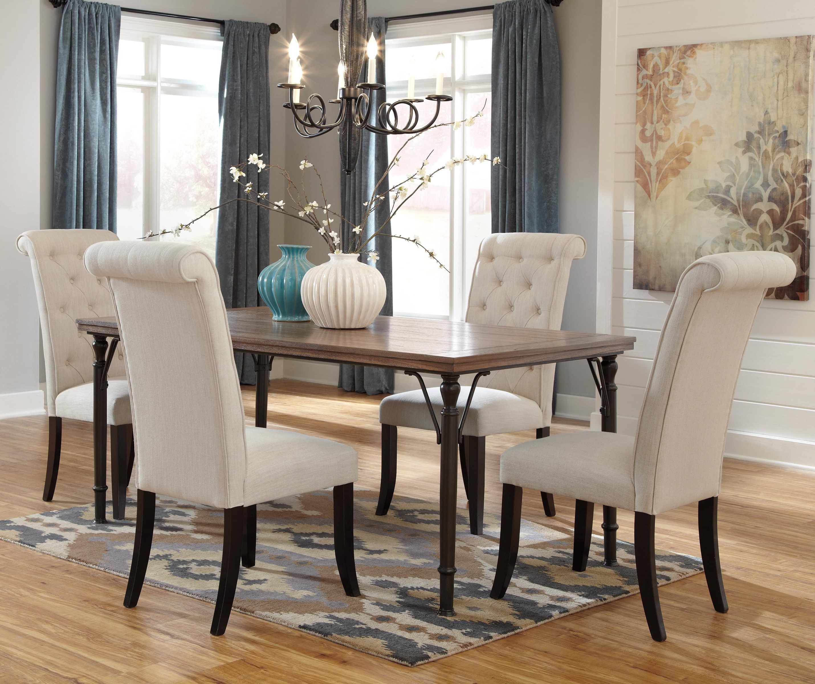 Well Liked 5 Piece Rectangular Dining Room Table Set W/ Wood Top & Metal Legs Pertaining To Rectangular Dining Tables Sets (View 8 of 25)