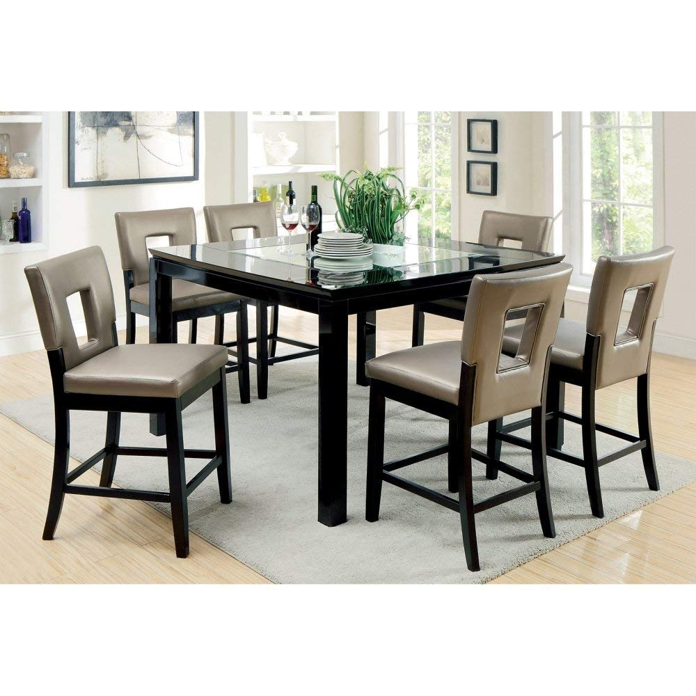 Well Liked Amazon – Furniture Of America Vanderbilte 9 Piece Glass Inlay Inside Market 7 Piece Dining Sets With Host And Side Chairs (View 14 of 25)