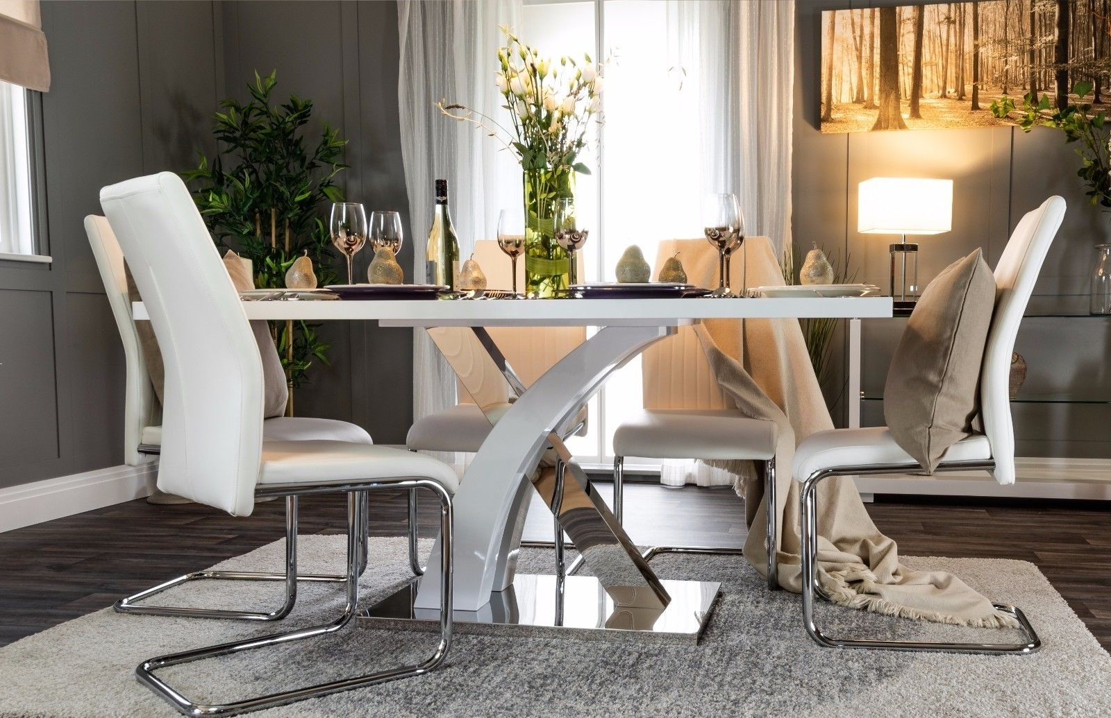 Well Liked Atlanta White Grey High Gloss Chrome Dining Table Set And 6 Leather For Glass And Chrome Dining Tables And Chairs (View 24 of 25)
