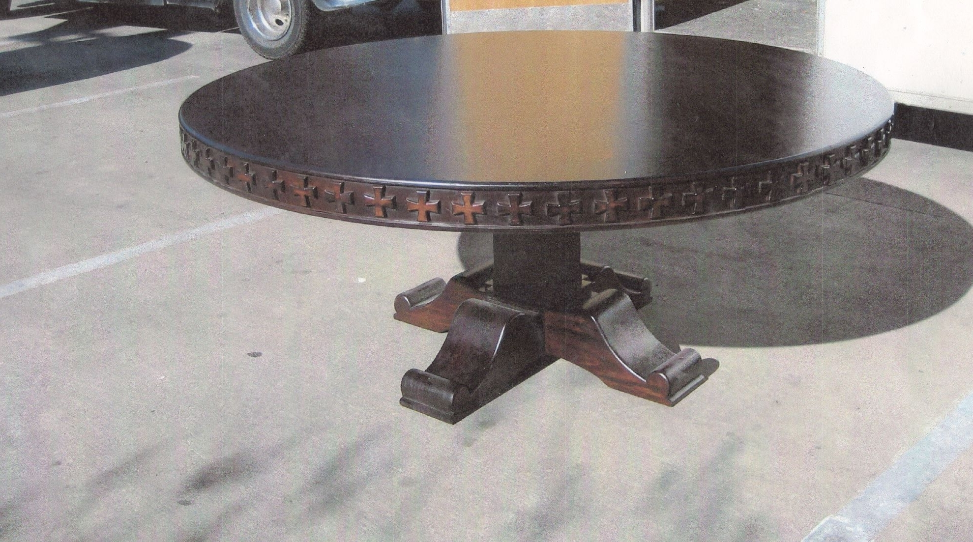 """Well Liked Barcelona Dining Tables With Regard To Barcelona Dining Table 72"""" Round With Crosses Carving In Dark Walnut (View 25 of 25)"""