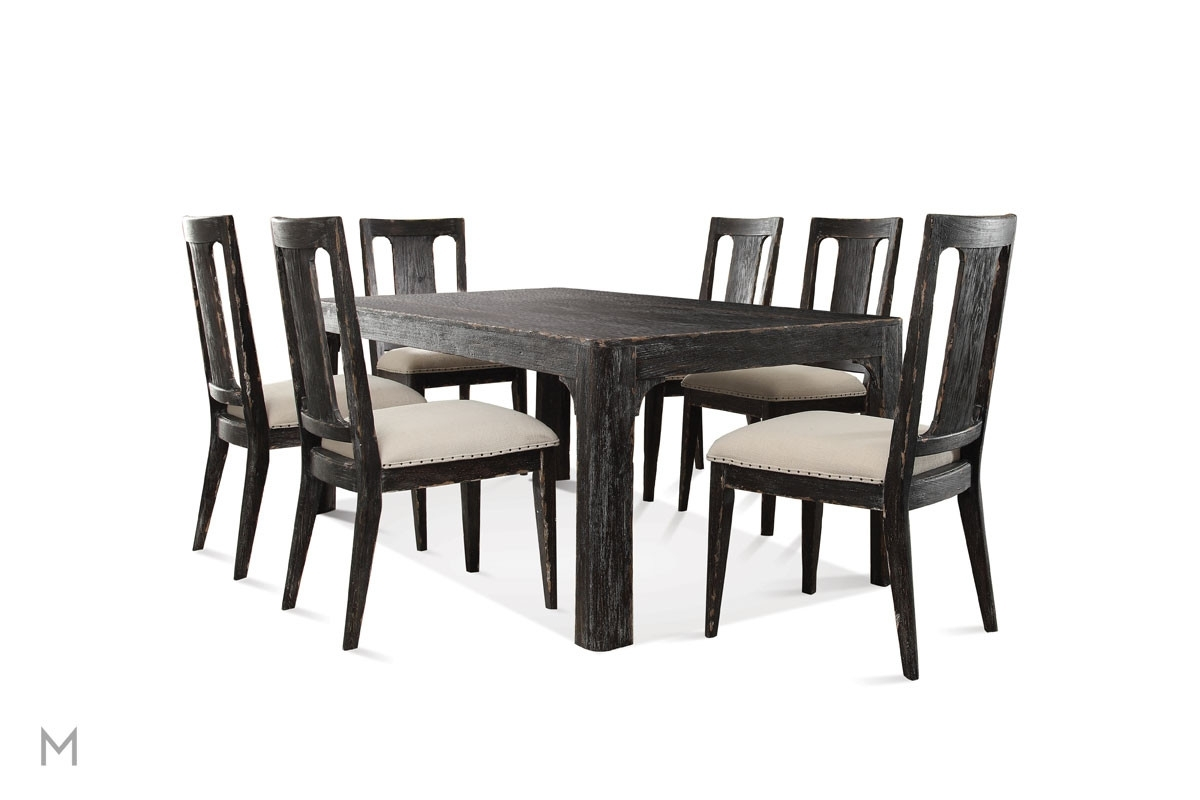 "Well Liked Bellagio Dining Tables Within Bellagio 76"" Rectangular Dining Table In Weathered Black (View 21 of 25)"
