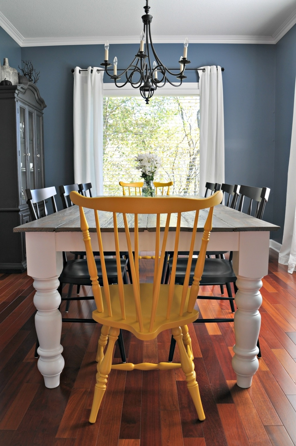 Well Liked Blue Dining Tables Regarding Rustic Farmhouse Dining Table Decor And The Dog Navy Blue Dining (View 25 of 25)